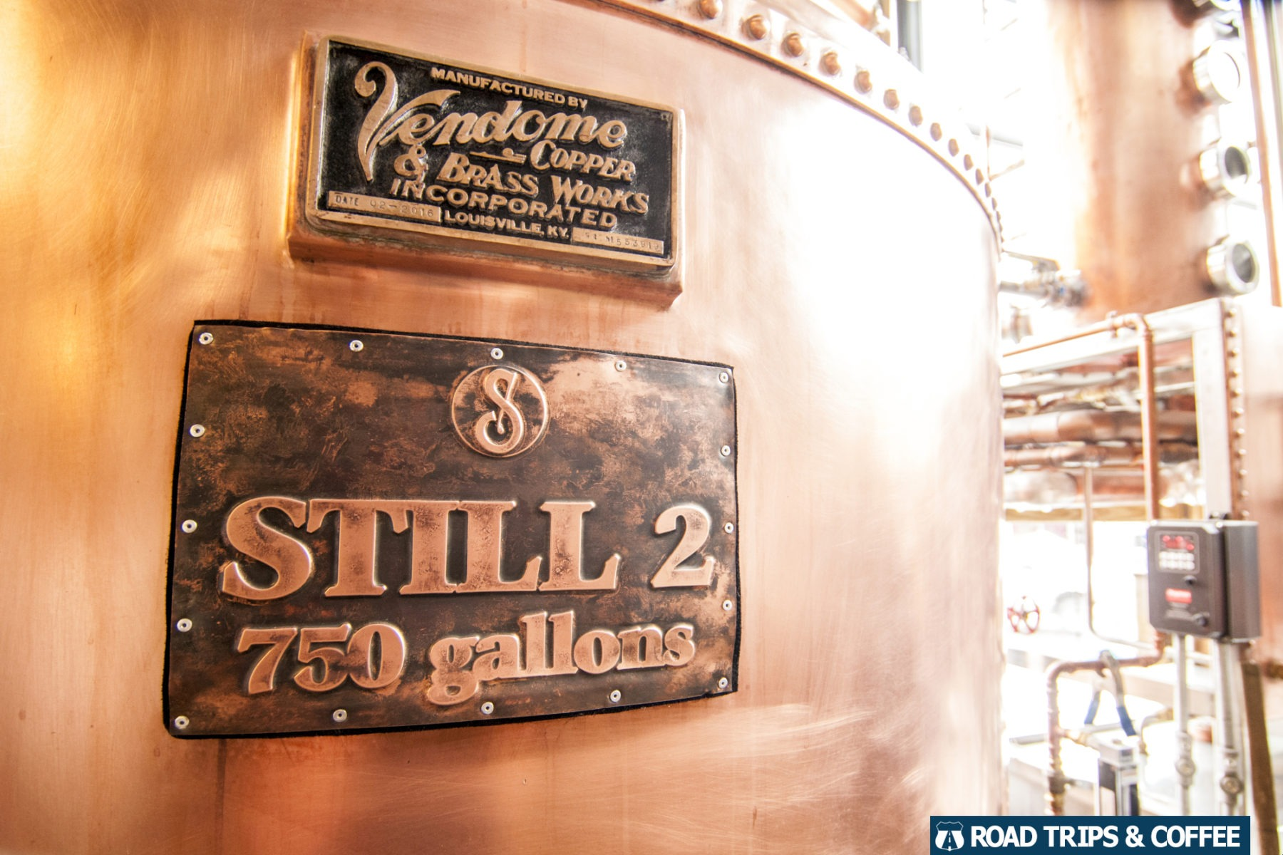A large still for making moonshine seen during the tour at Sugarlands Distilling Company in Gatlinburg, Tennessee.