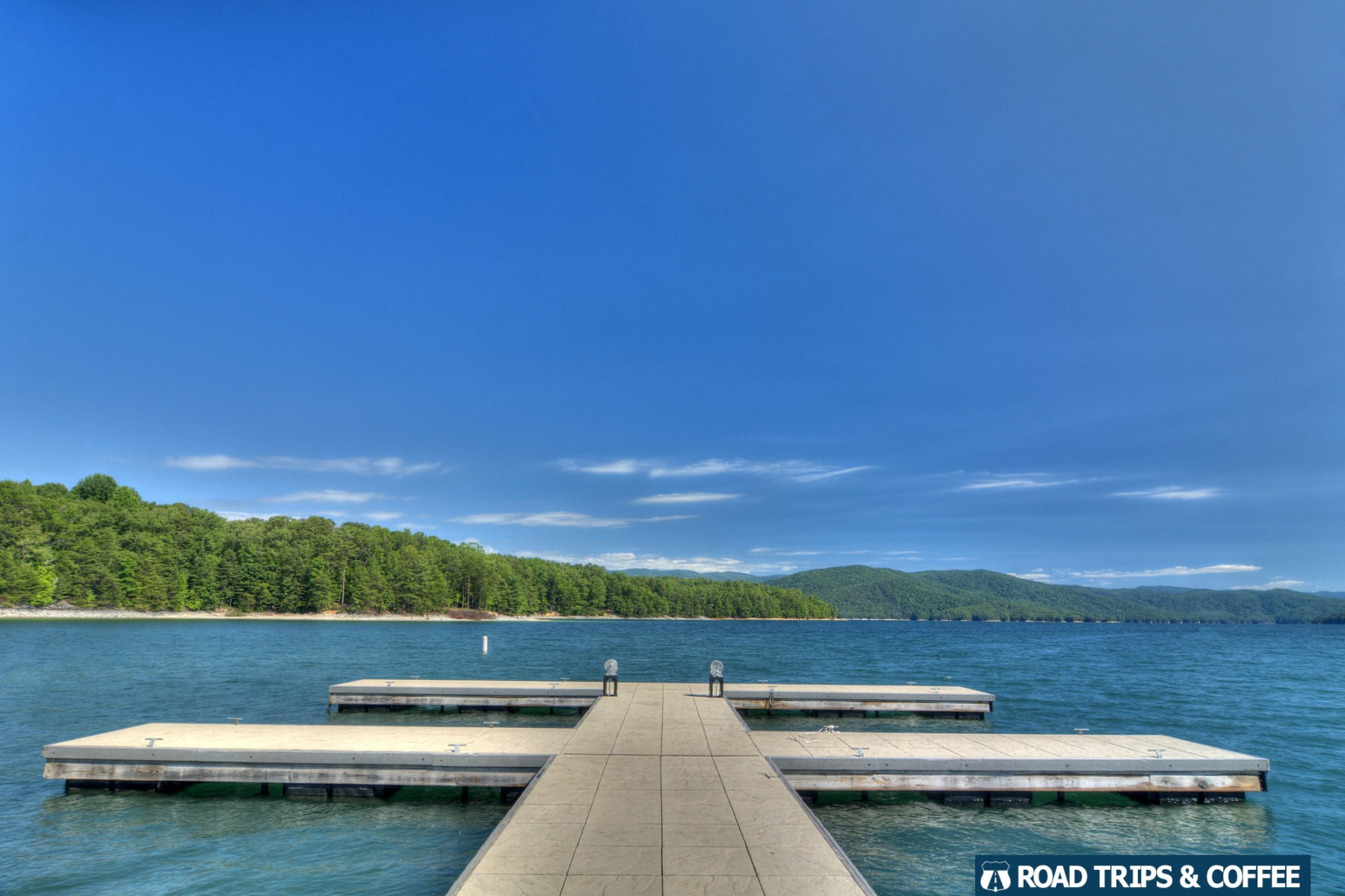 A wide boat dock on Lake Jocassee at Devil's Fork State Park in South Carolina.