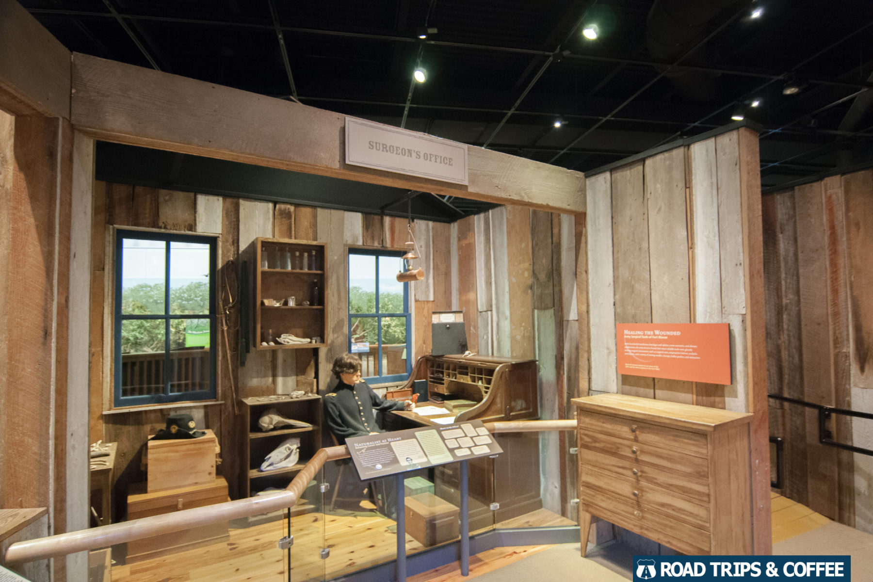 A museum exhibit depicting what life was like at the Surgeon's Office inside Fort Macon State Park in Atlantic Beach, North Carolina