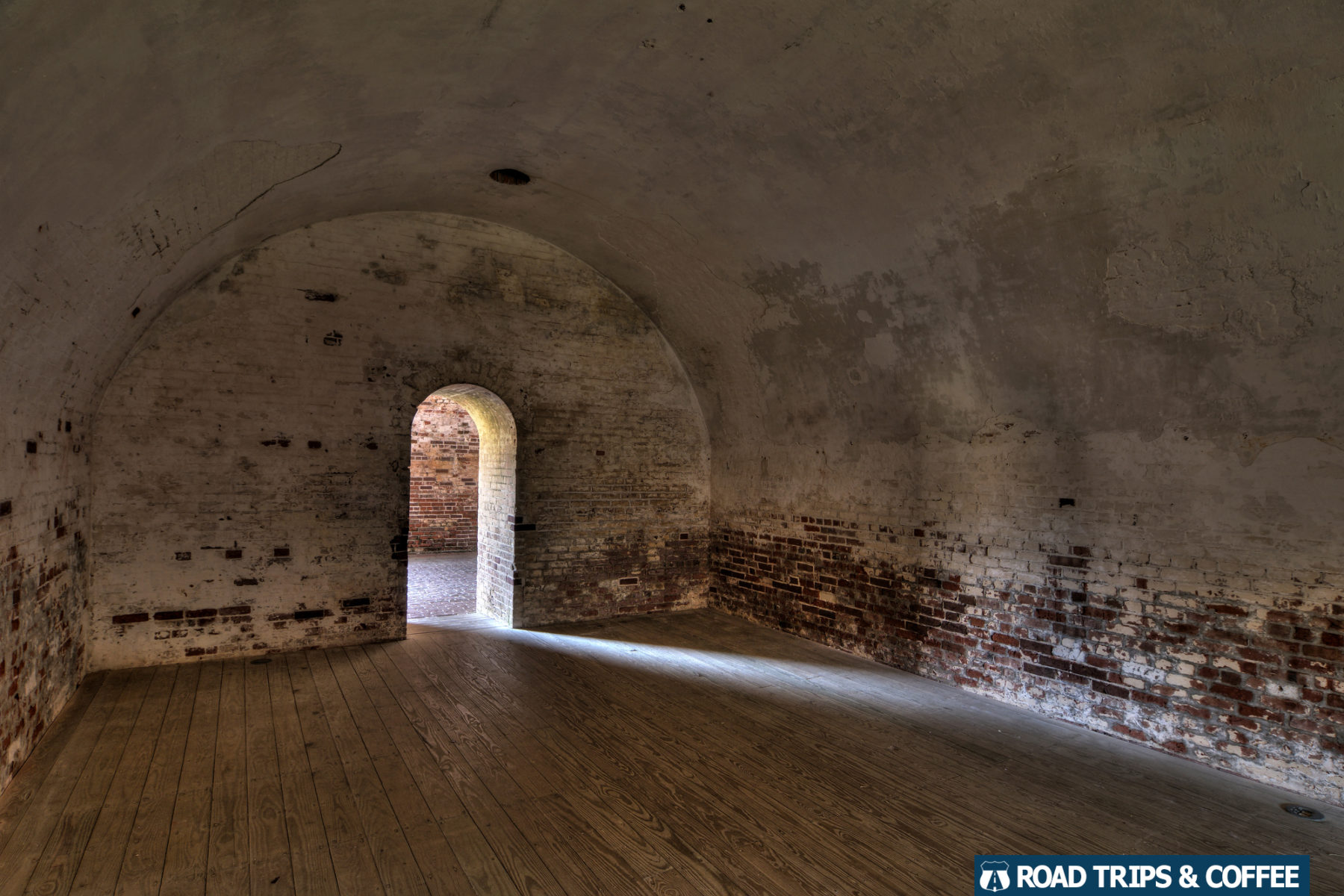 A room without windows deep inside Fort Macon State Park in Atlantic Beach, North Carolina