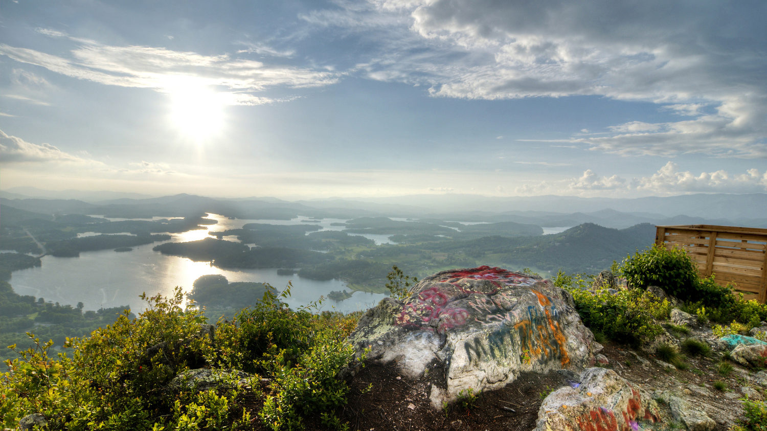 The view of Chatuge Lake from Bell Mountain high above Hiawassee, GA on Friday, June 16, 2017. Copyright 2017 Jason Barnette