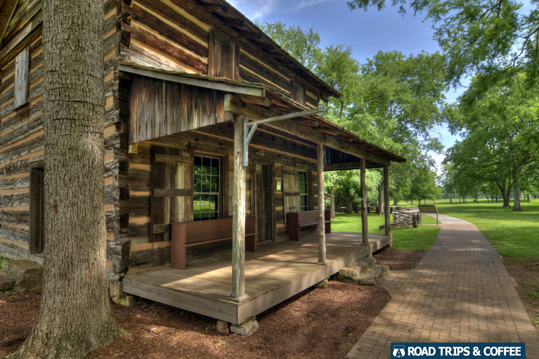 An old log home along the hiking trail at Ninety Six National Historic Site in Ninety Six, South Carolina