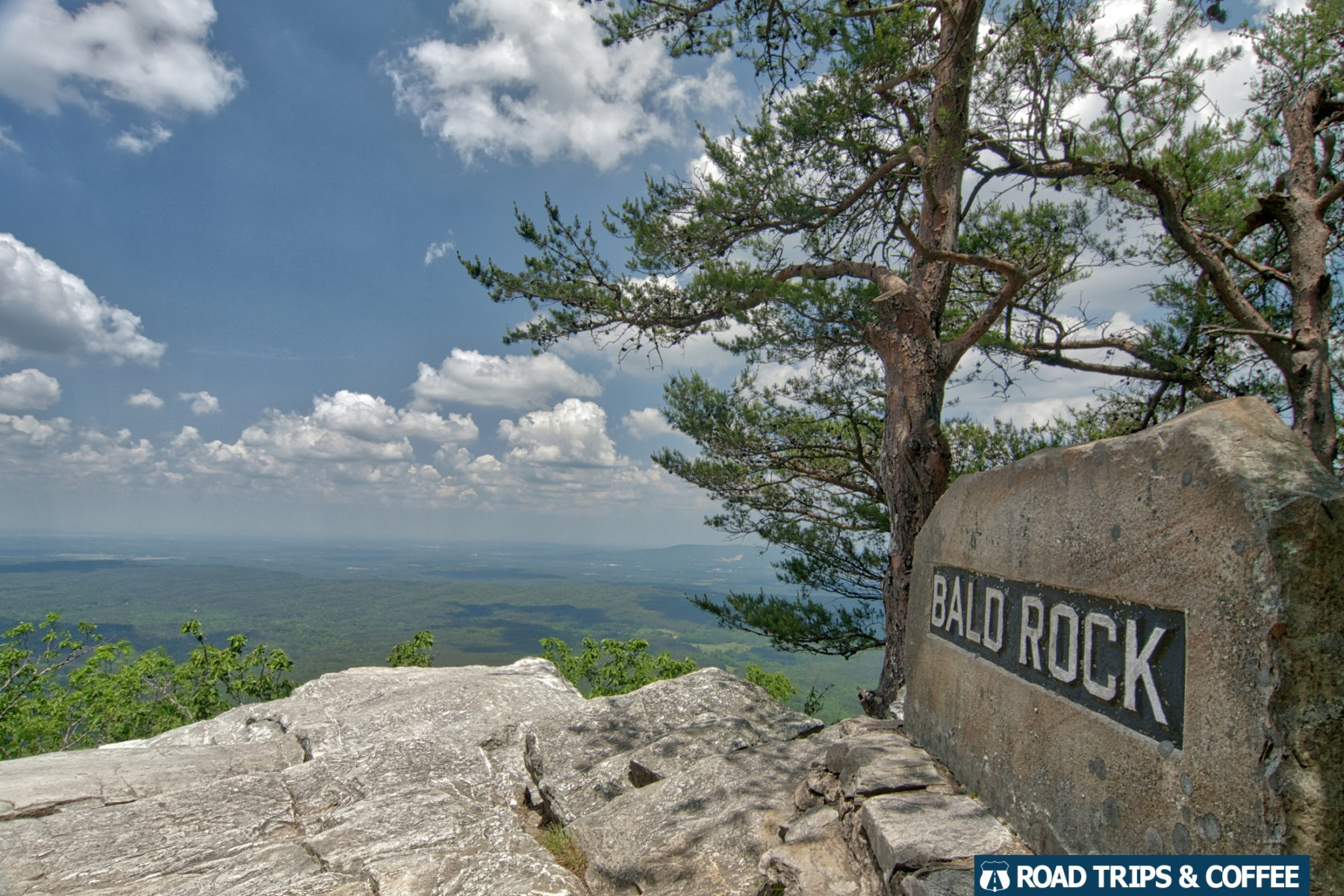 A view of the landscape from Bald Rock at Cheaha State Park in Alabama.