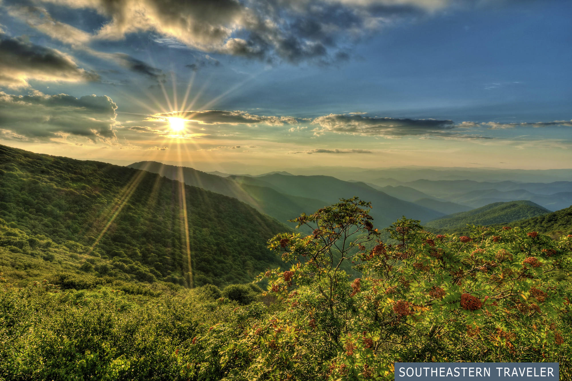 A sunset over the mountains at Craggy Gardens on the Blue Ridge Parkway near Asheville, North Carolina