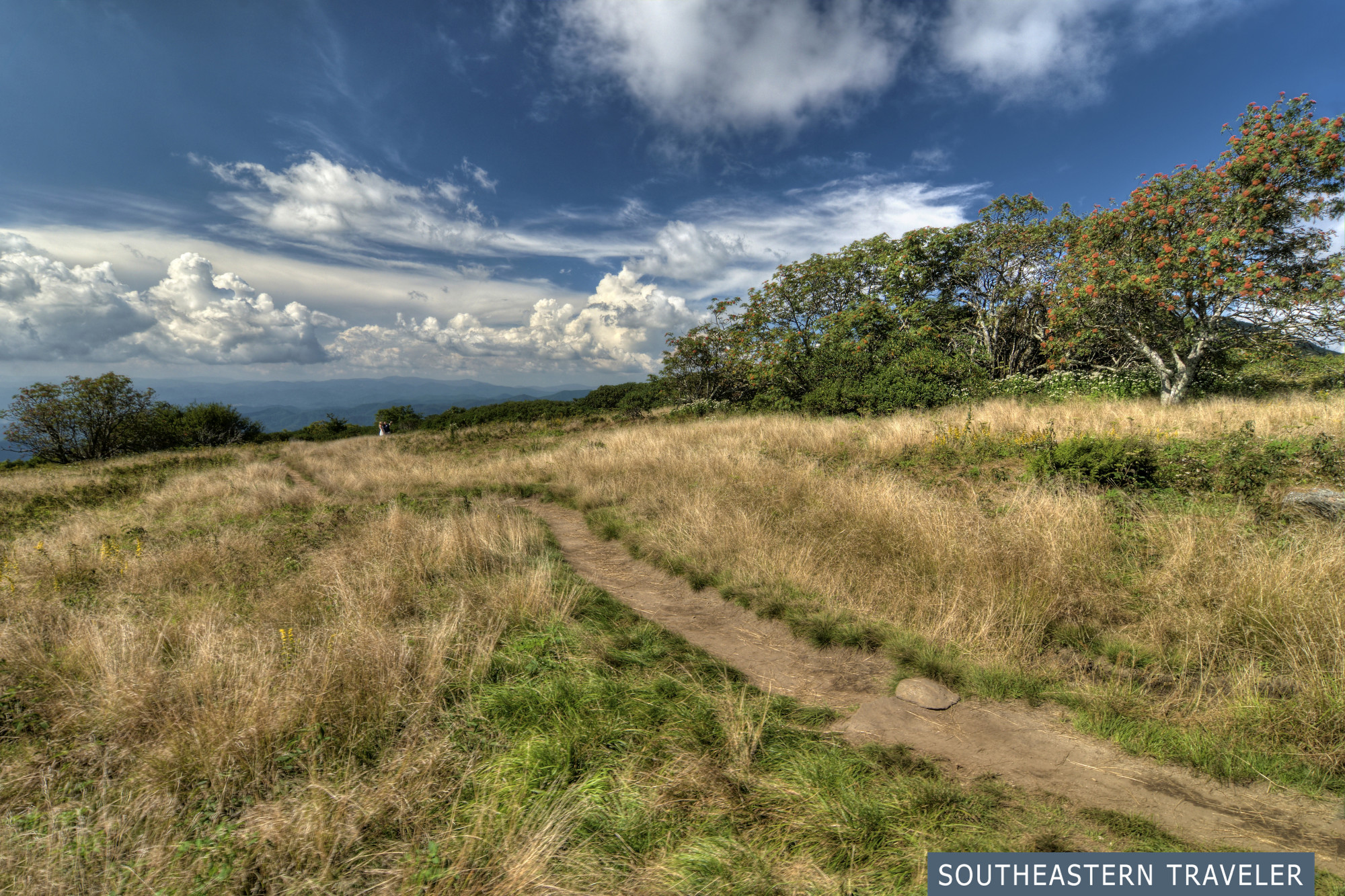A dirt path in a field at Craggy Knob on the Blue Ridge Parkway near Asheville, North Carolina