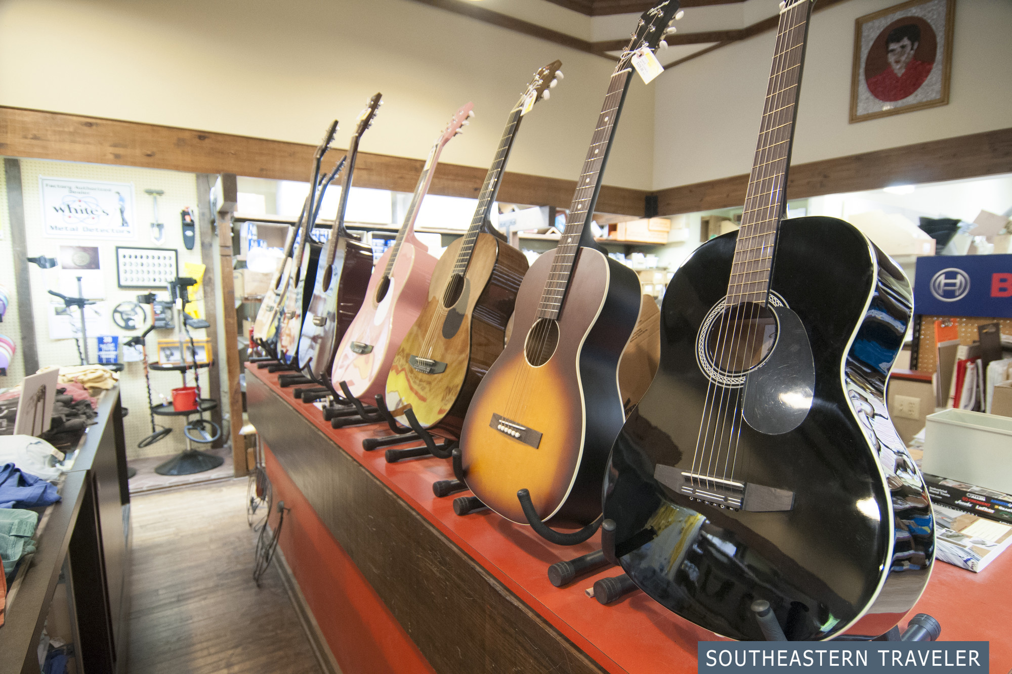 Guitars for sale at Tupelo Hardware Company where Elvis Presley bought his first guitar in Tupelo, Mississippi