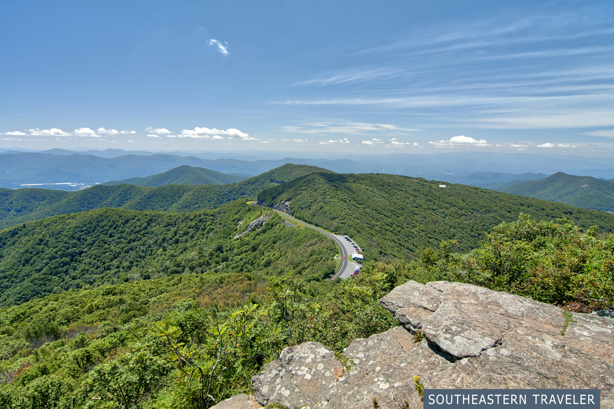 View from Craggy Pinnacle on the Blue Ridge Parkway near Asheville, North Carolina