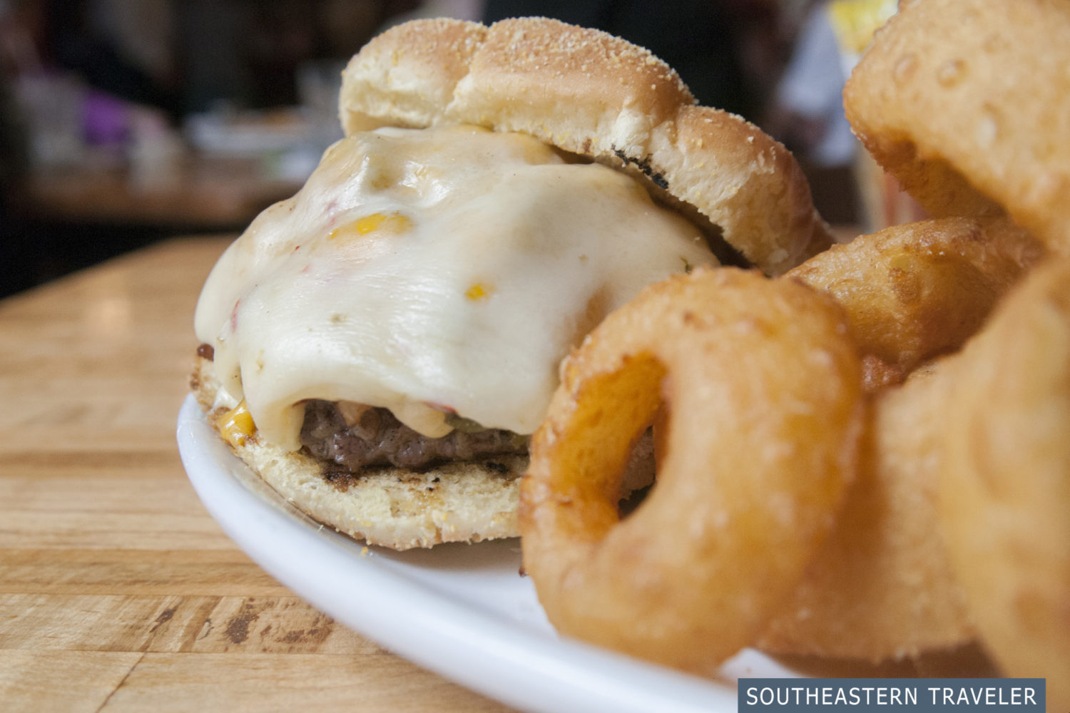 A cheese-smothered burger from The Stables Grill in Tupelo, Mississippi