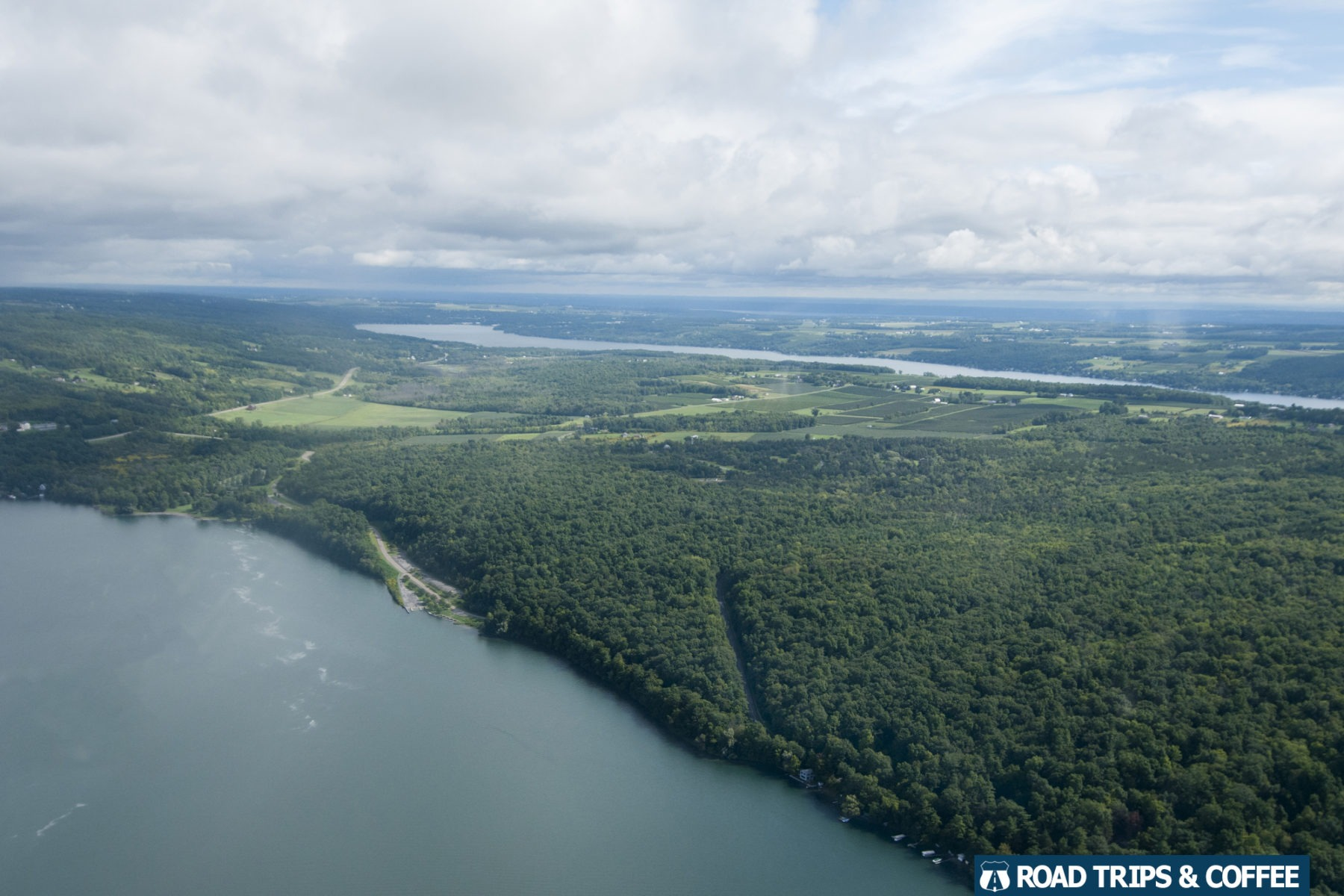 The view from a seaplane tour over Keuka Lake in Hammondsport, New York
