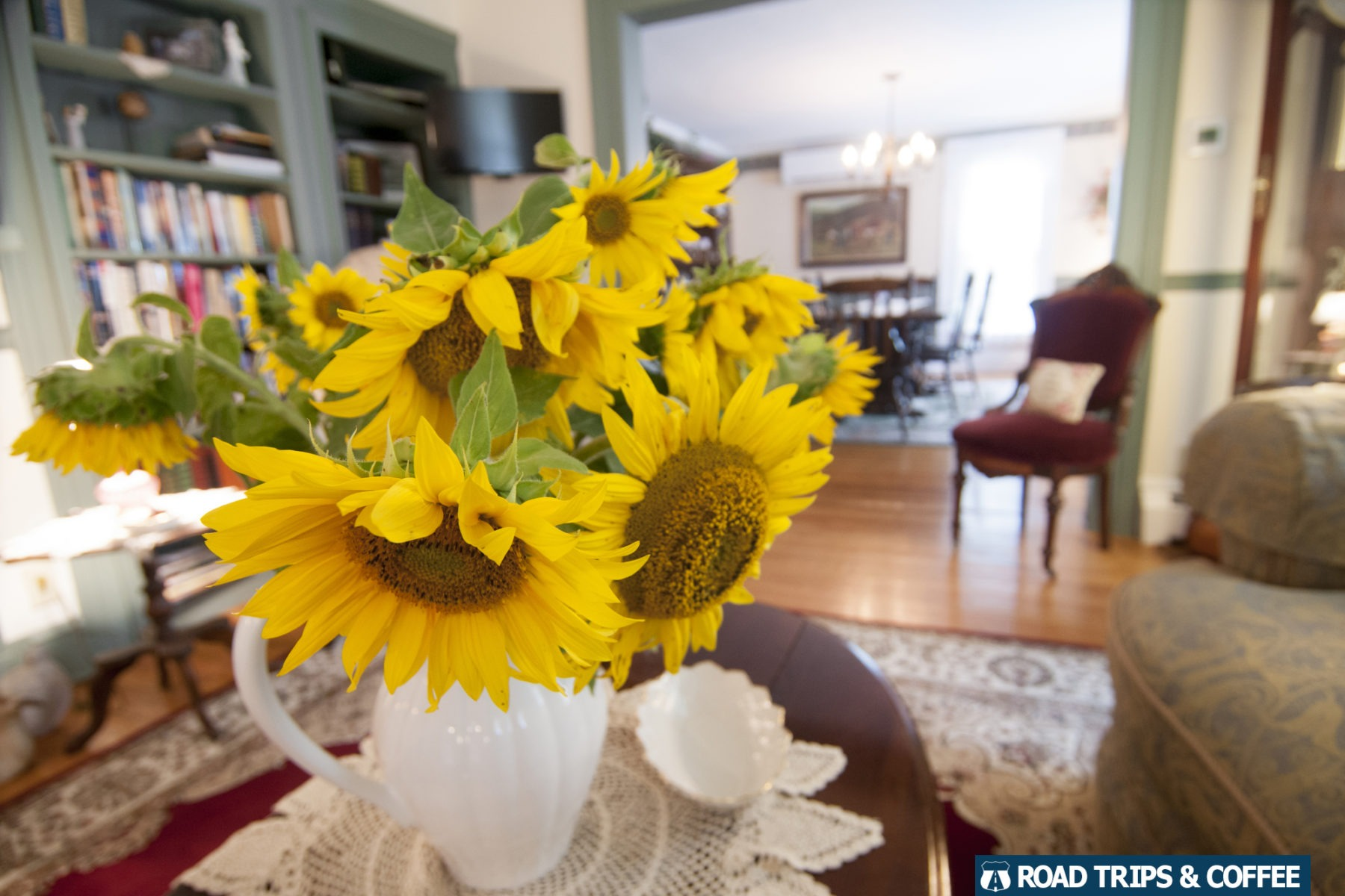 Beautiful sunflowers decorate the table at the Blushing Rose Bed & Breakfast in Hammondsport, New York