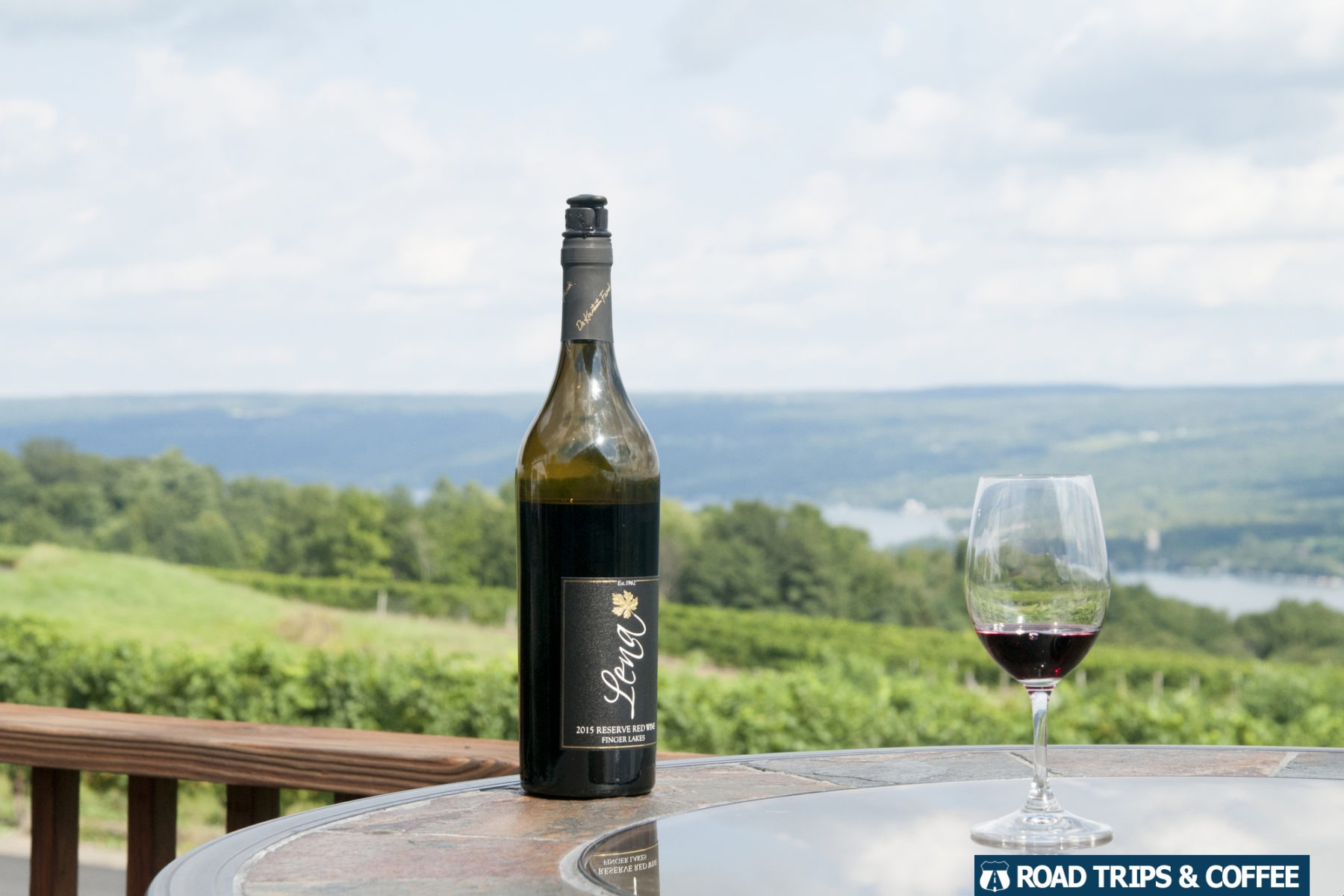 A bottle of great wine with a view of Keuka Lake at the Dr. Konstantin Frank Winery in Hammondsport, New York