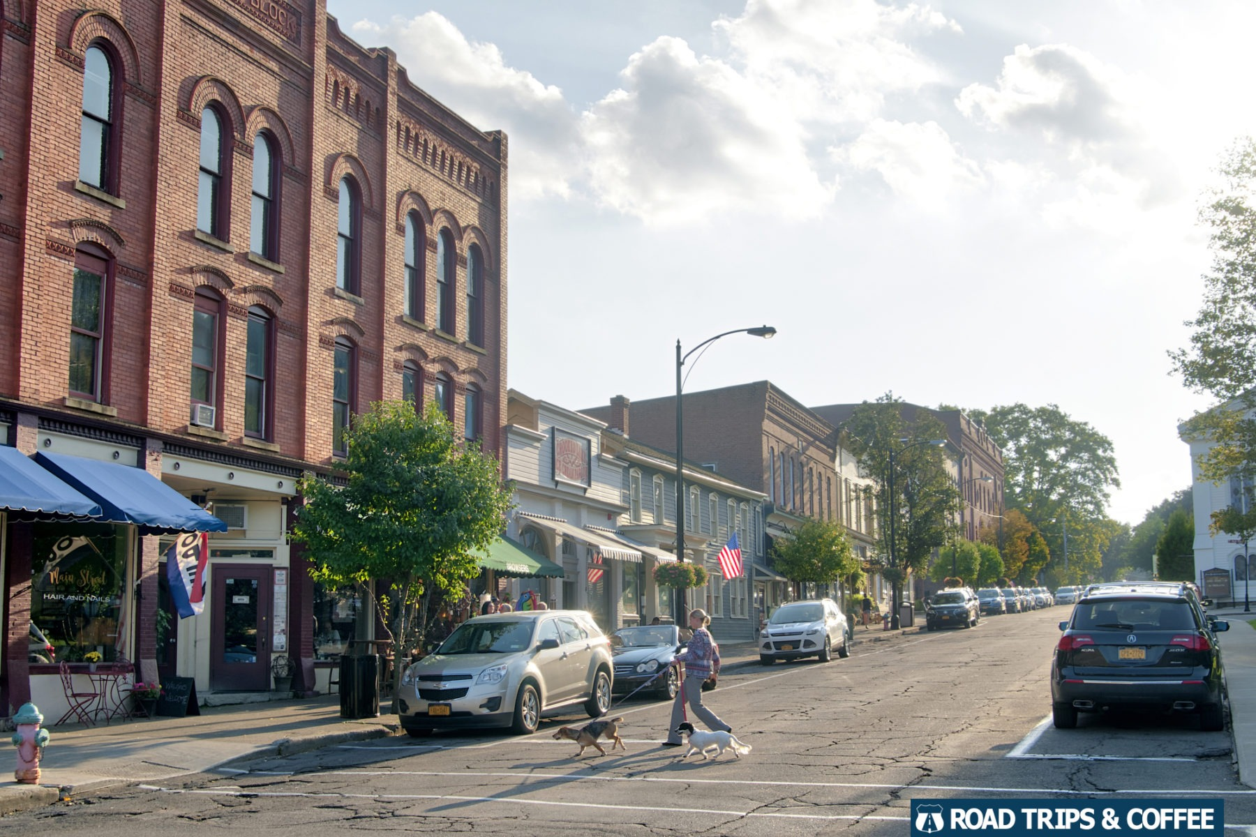 A woman walks her two dogs across the quaint streets of downtown Hammondsport, New York