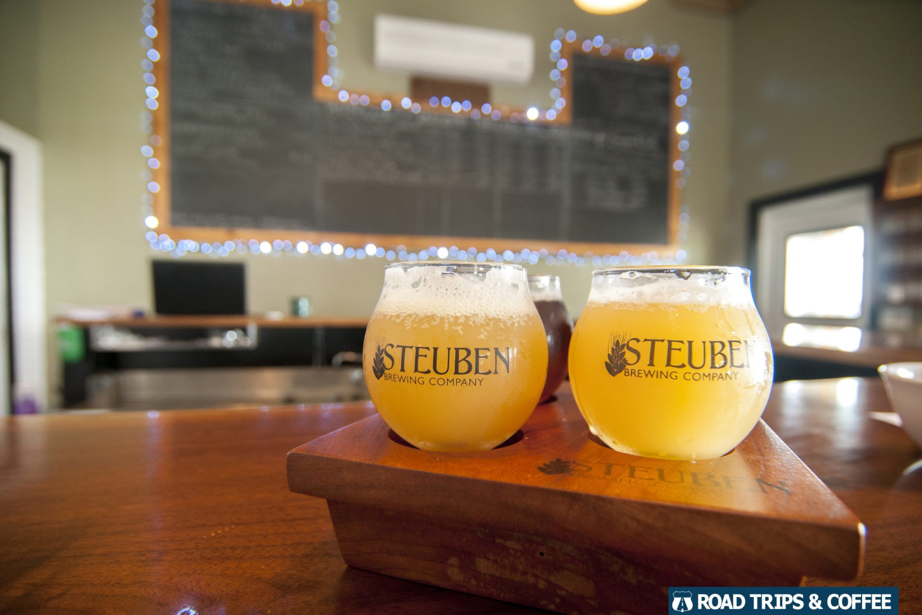 A flight of craft beer from Steuben Brewing Company in Hammondsport, New York