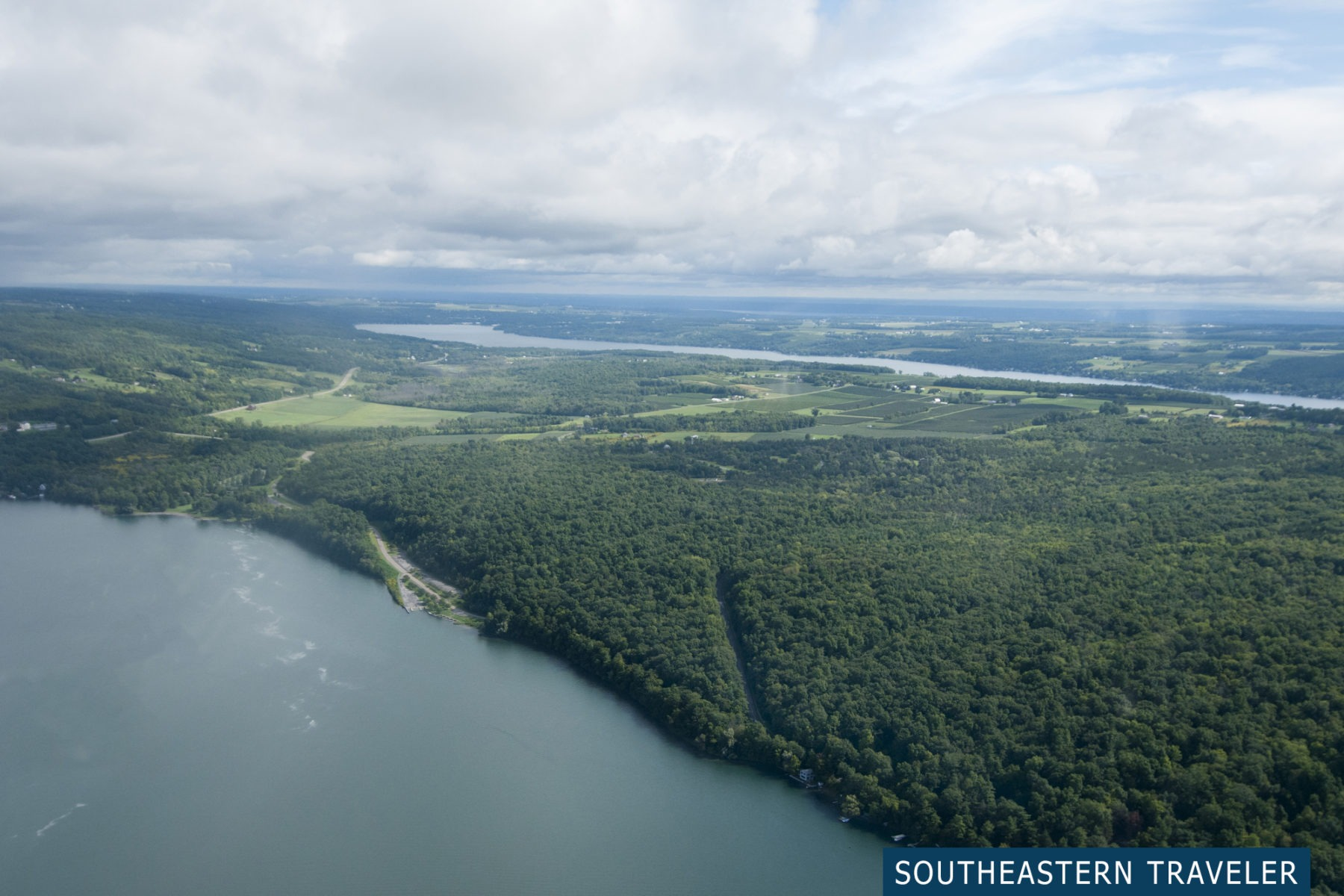 View from two thousand feet above Keuka Lake from a seaplane ride with Finger Lakes Seaplanes in Hammondsport, New York
