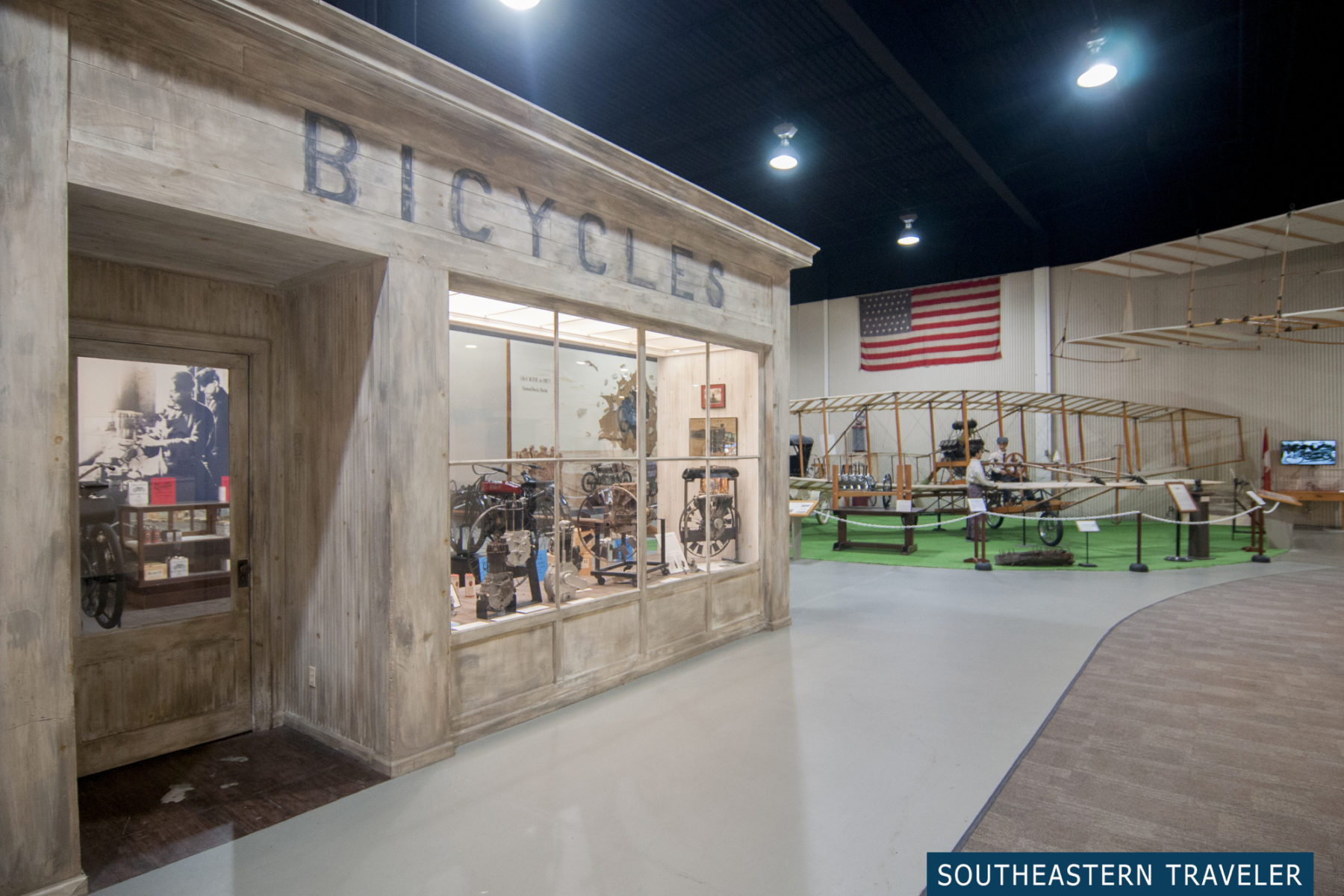 Bicycles and airplanes at the Glenn H. Curtiss Aviation Museum in Hammondsport, New York