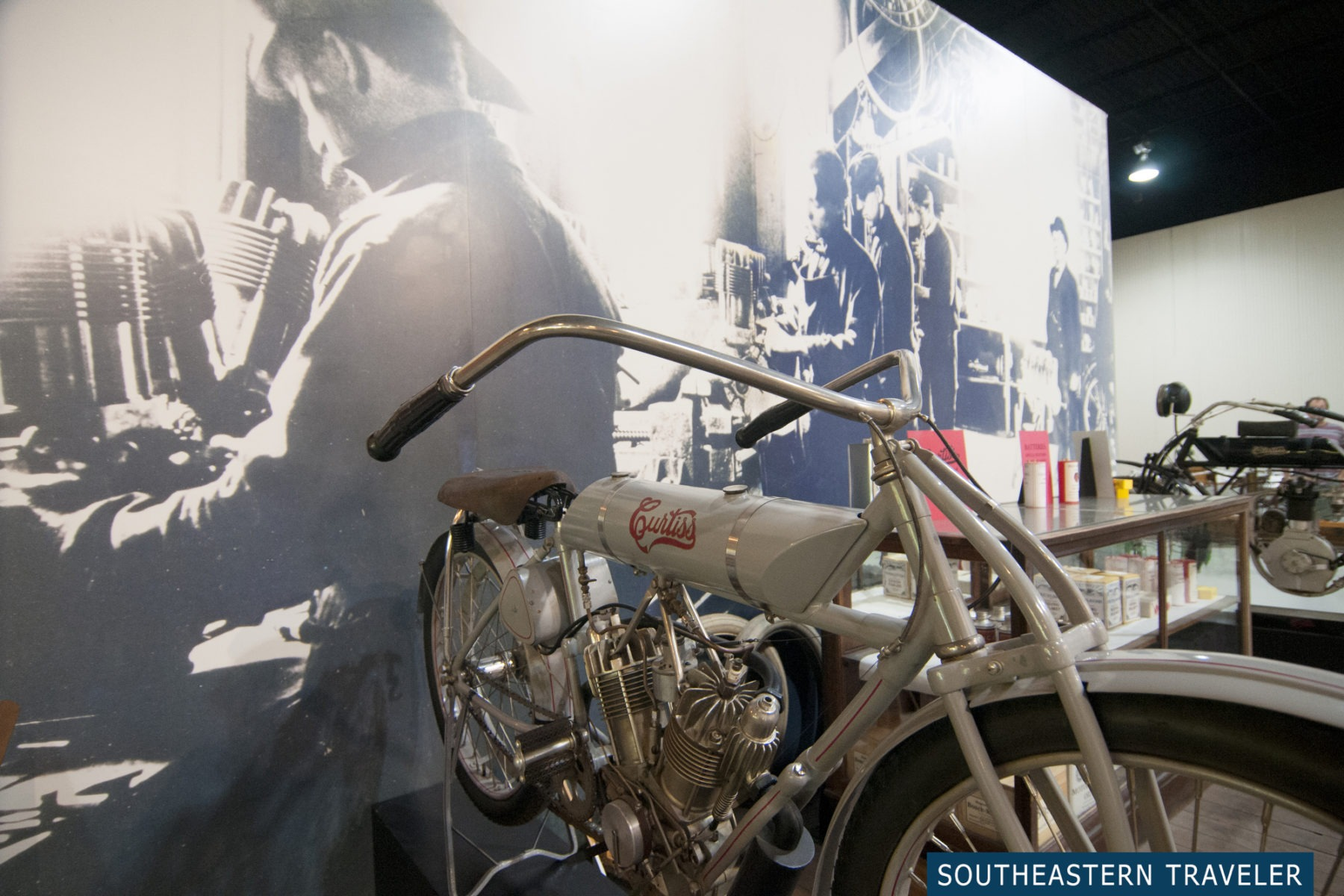A bicycle on display in the Glenn Curtiss Aviation Museum in Hammondsport, New York