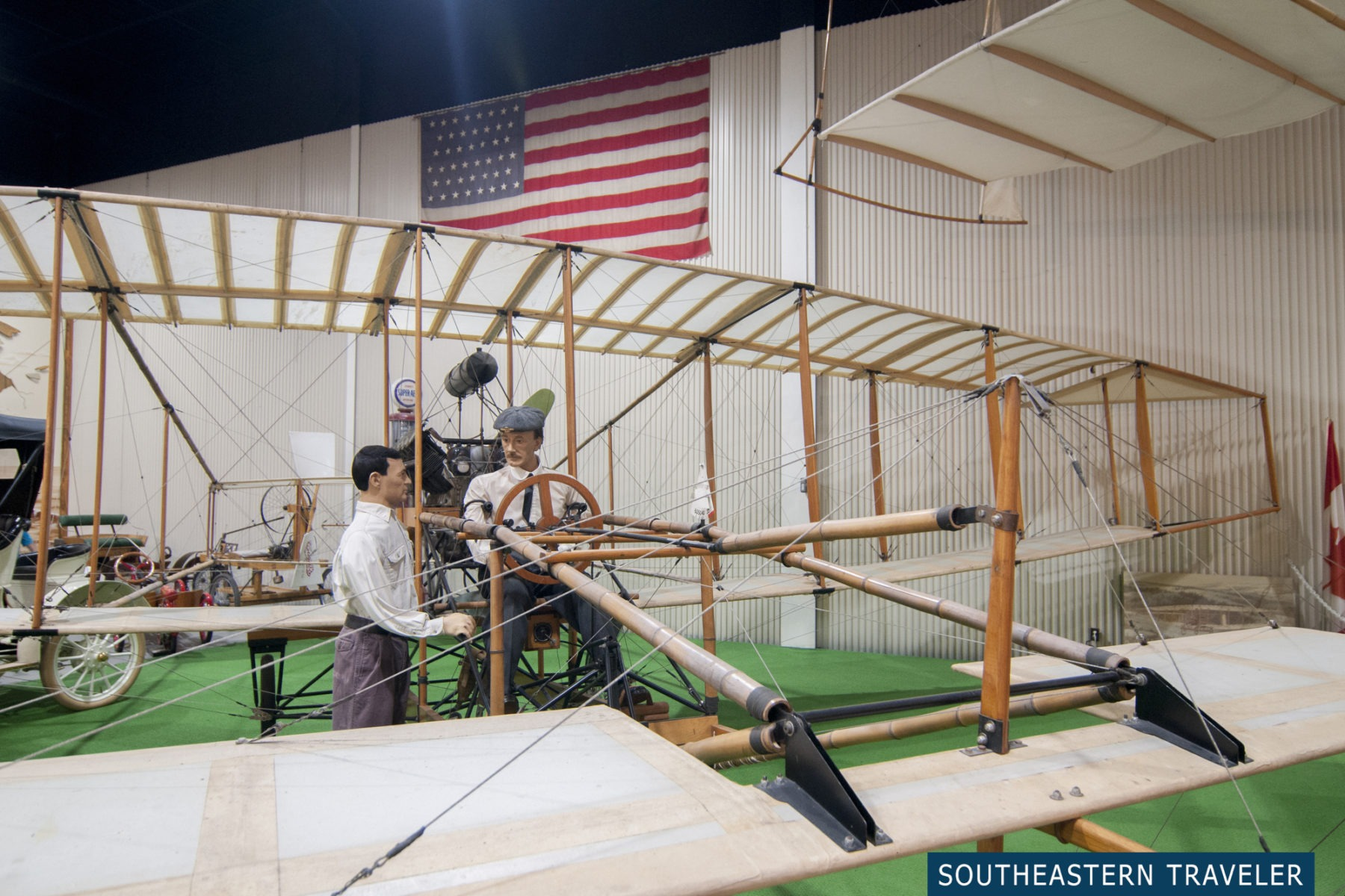 A replica of a plane on display at the Glenn Curtiss Aviation Museum in Hammondsport, New York