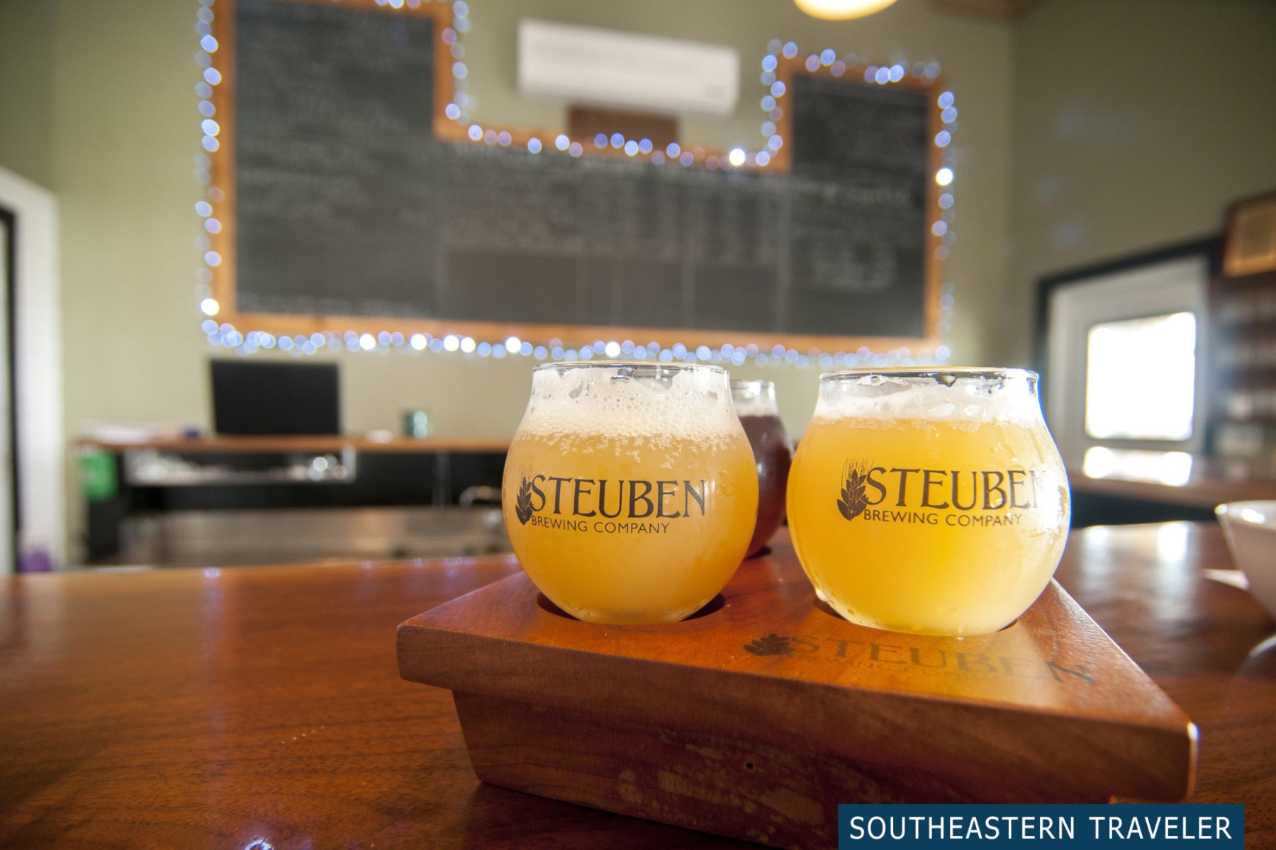 A flight of four craft beers from Steuben Brewing Company in Hammondsport, New York