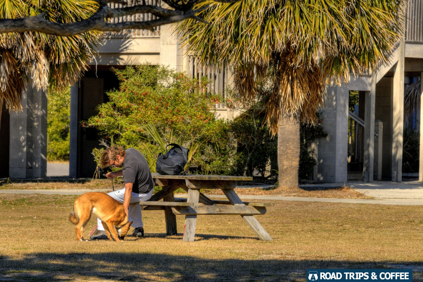 A man with his dog sitting at a picnic table near the restrooms at Huntington Beach State Park in Murrells Inlet, South Carolina