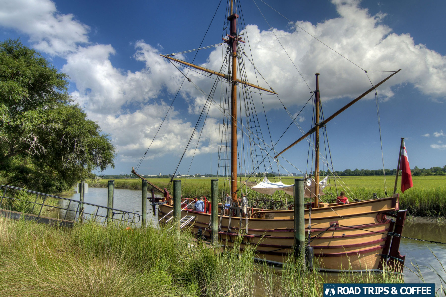 The Adventure sailing ship at Charles Towne Landing State Historic Site in Charleston, South Carolina