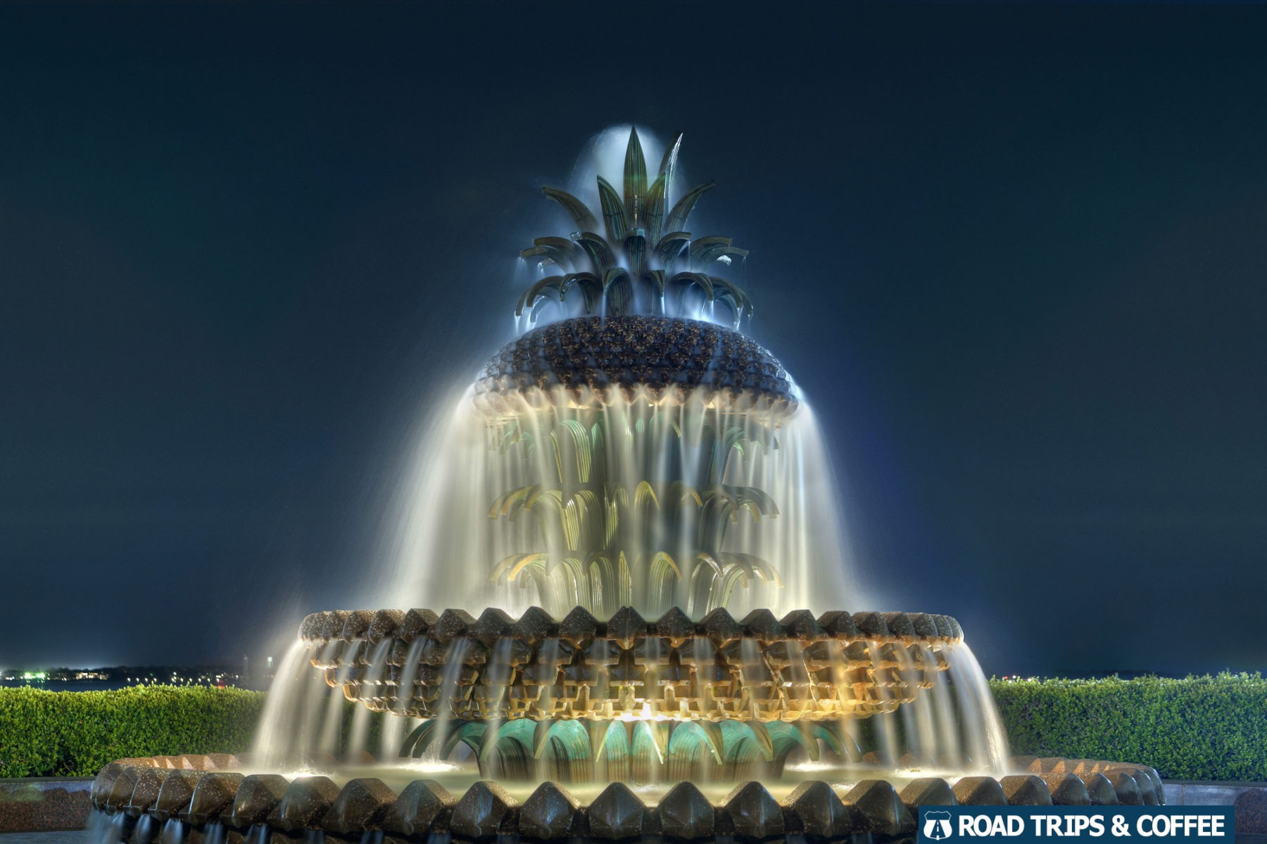 The Pineapple Water Fountain at night in Charleston, South Carolina