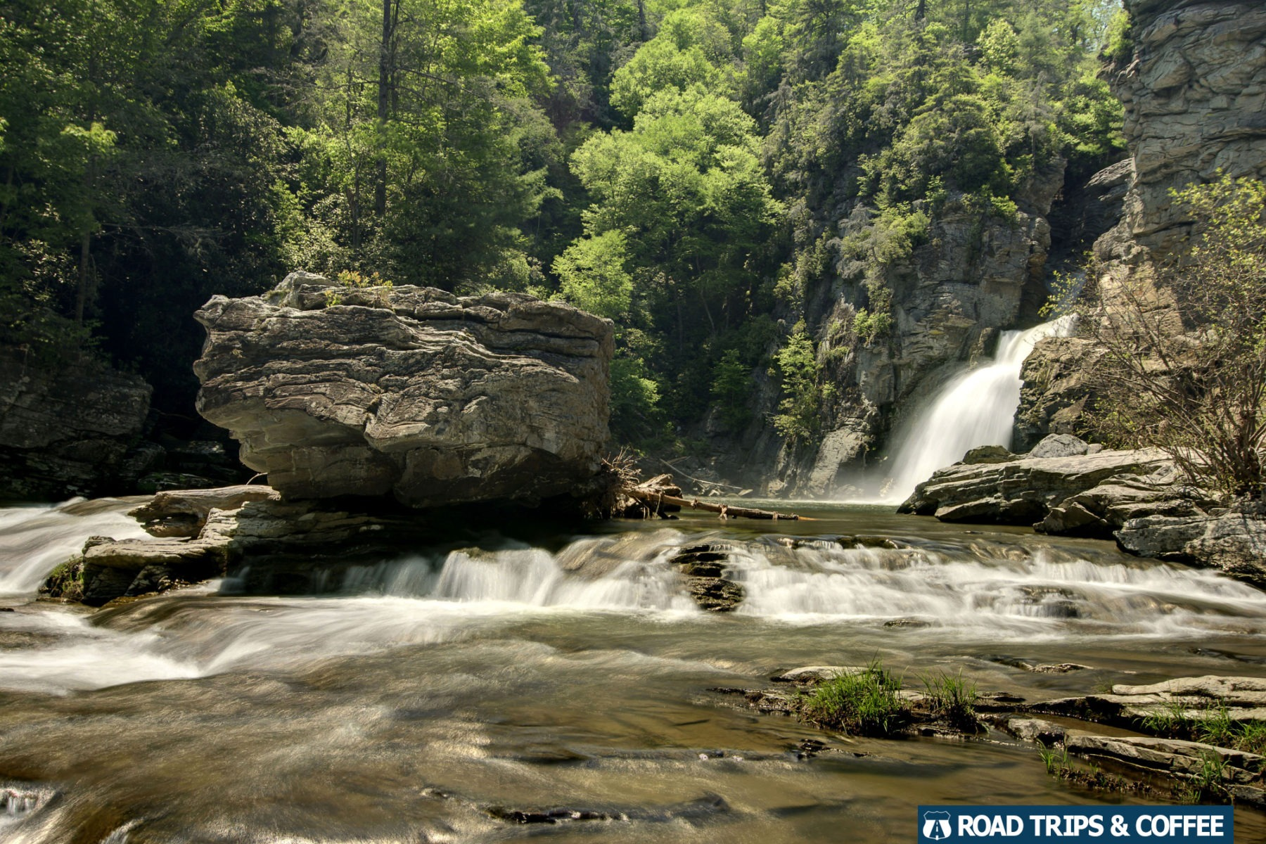The waterfall crashes into the Plunge Basin at Linville Falls on the Blue Ridge Parkway in North Carolina
