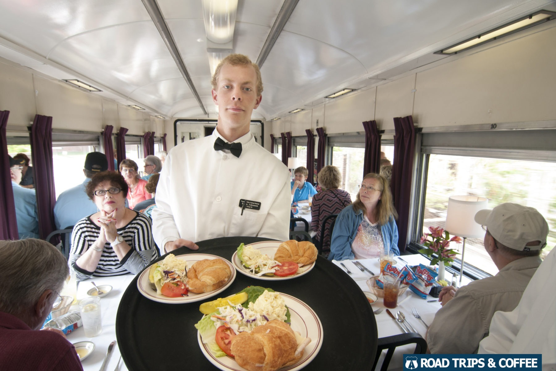 A tray of food during a rain ride with the Tennessee Valley Railroad Museum in Chattanooga, Tennessee