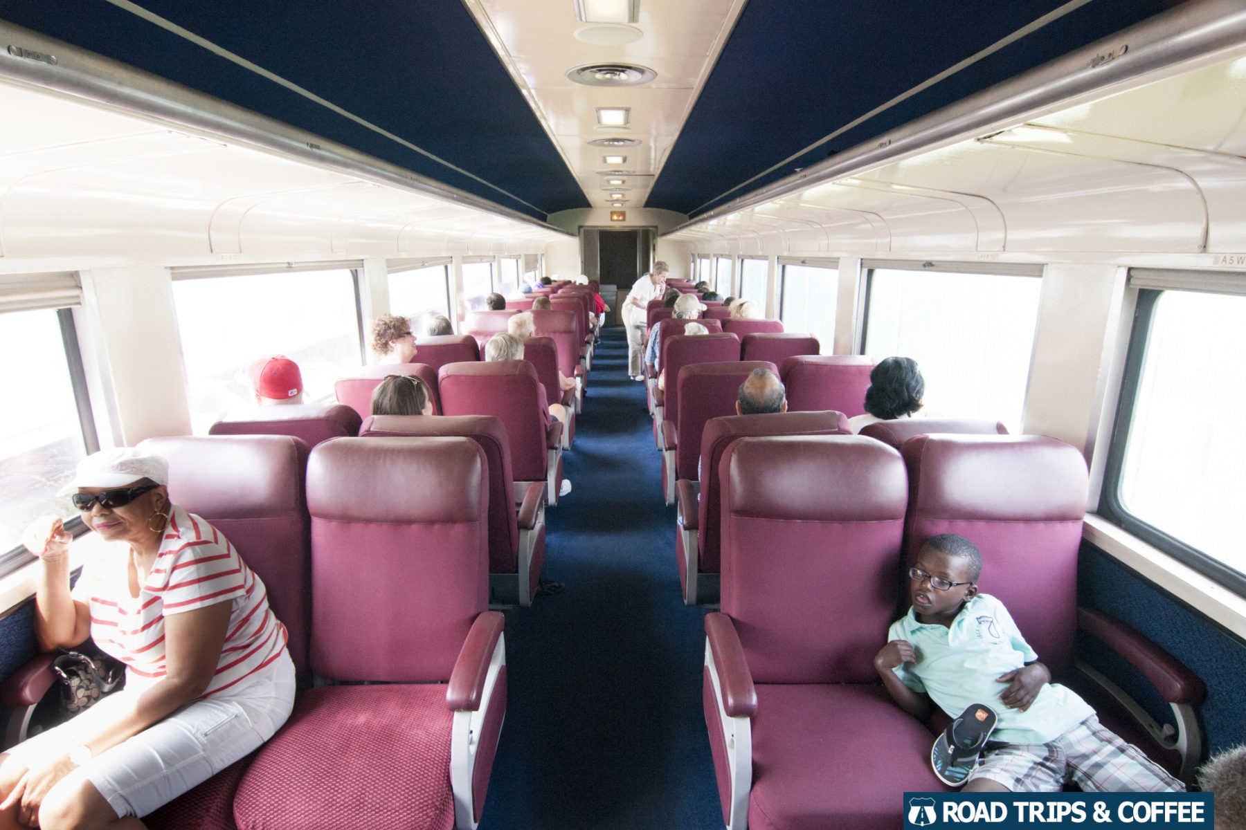 Air conditioning and comfortable seats inside the train cars with the Tennessee Valley Railroad Museum in Chattanooga, Tennessee