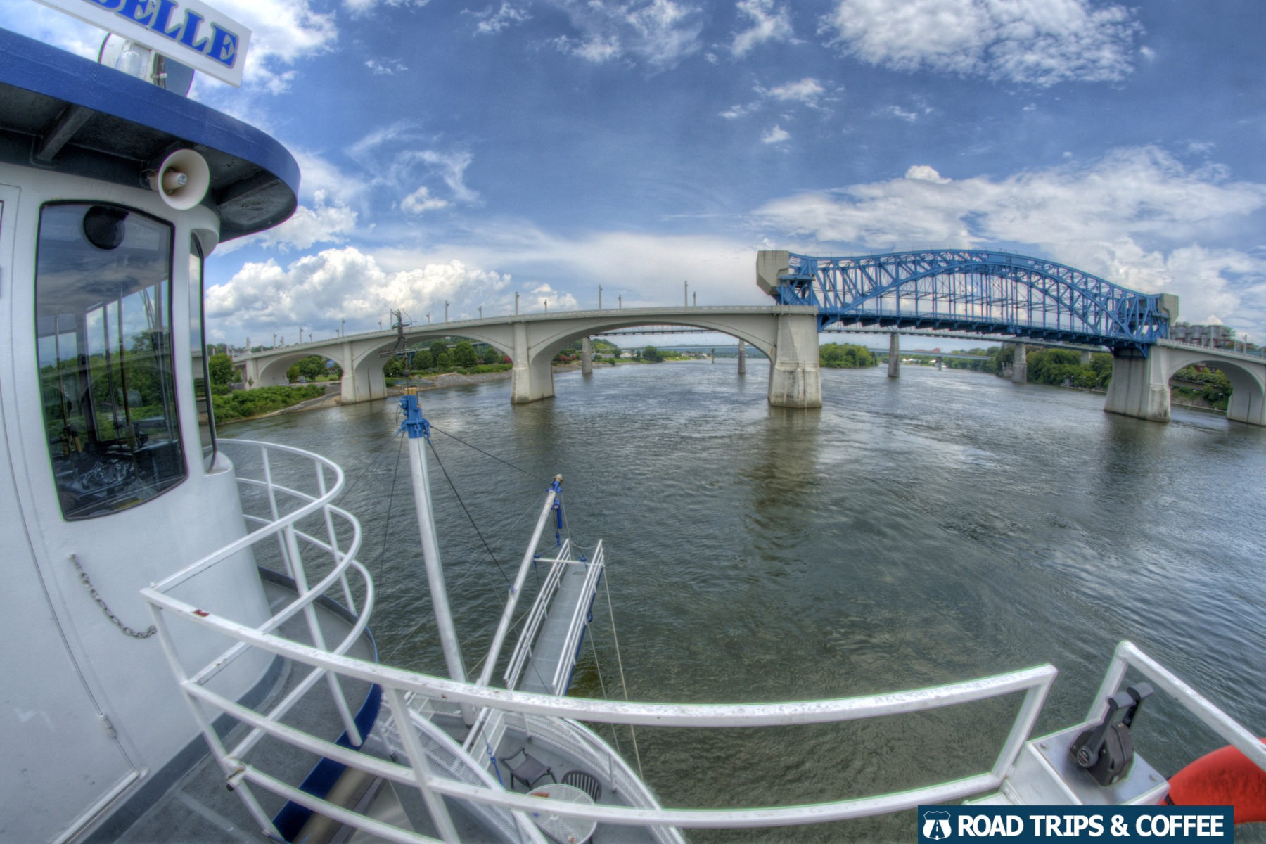 View of the bridges on the Southern Belle Riverboat during a tour on the Tennessee River in Chattanooga, Tennessee