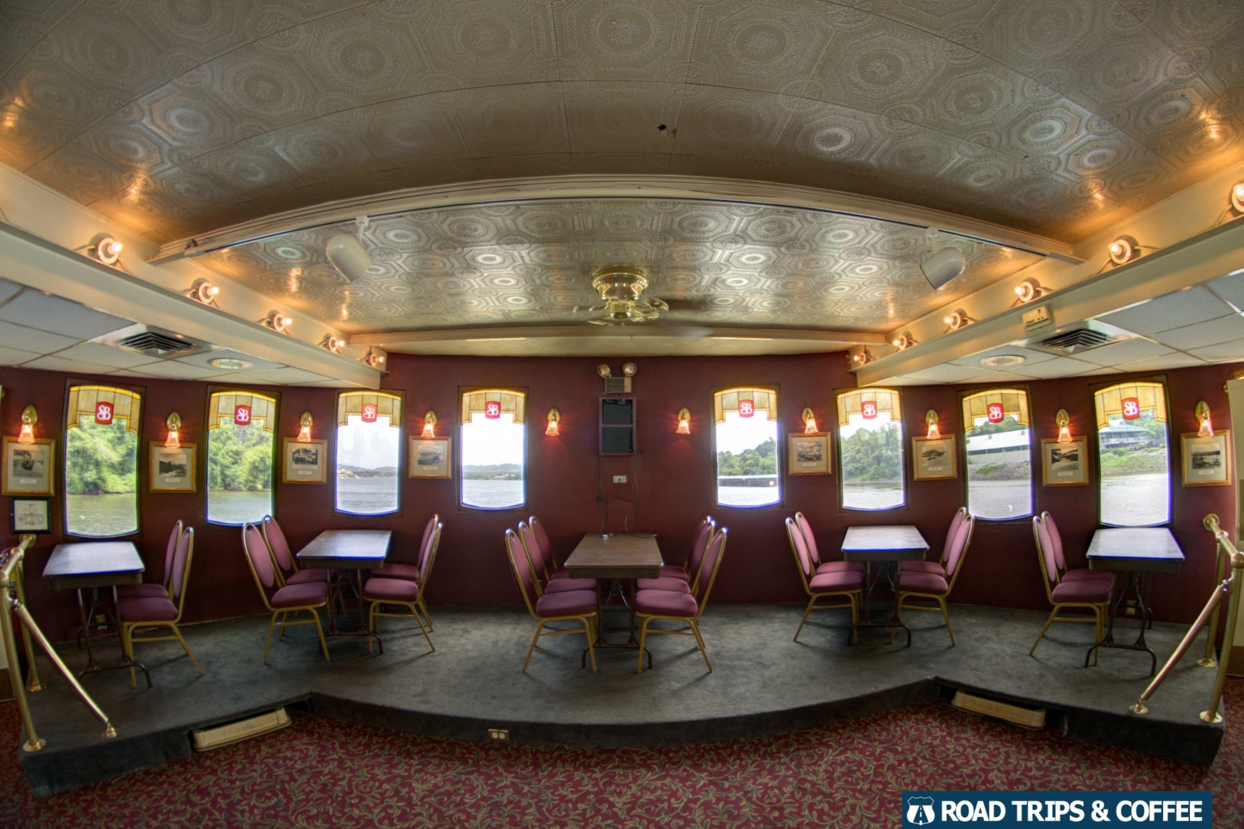 Comfortable indoor seating on the Southern Belle Riverboat during a tour on the Tennessee River in Chattanooga, Tennessee
