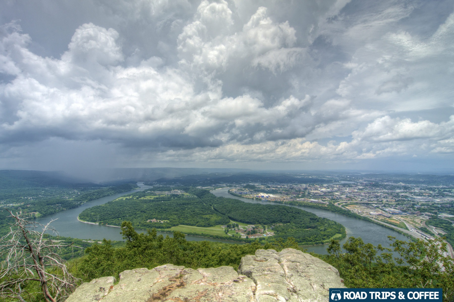 A summer thunderstorm passes across the bend in the Tennessee River heading for downtown Chattanooga, Tennessee