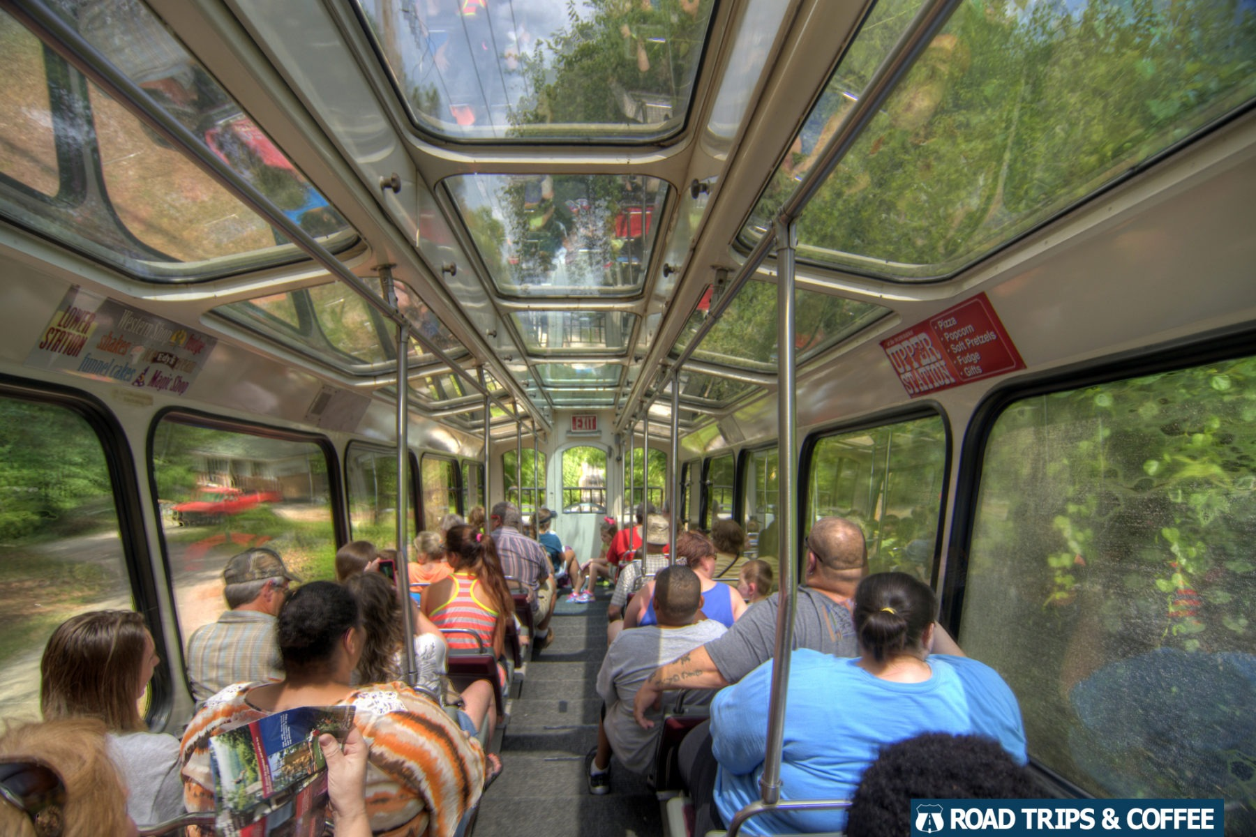 View inside the train car on the Lookout Mountain Incline Railway in Chattanooga, Tennessee