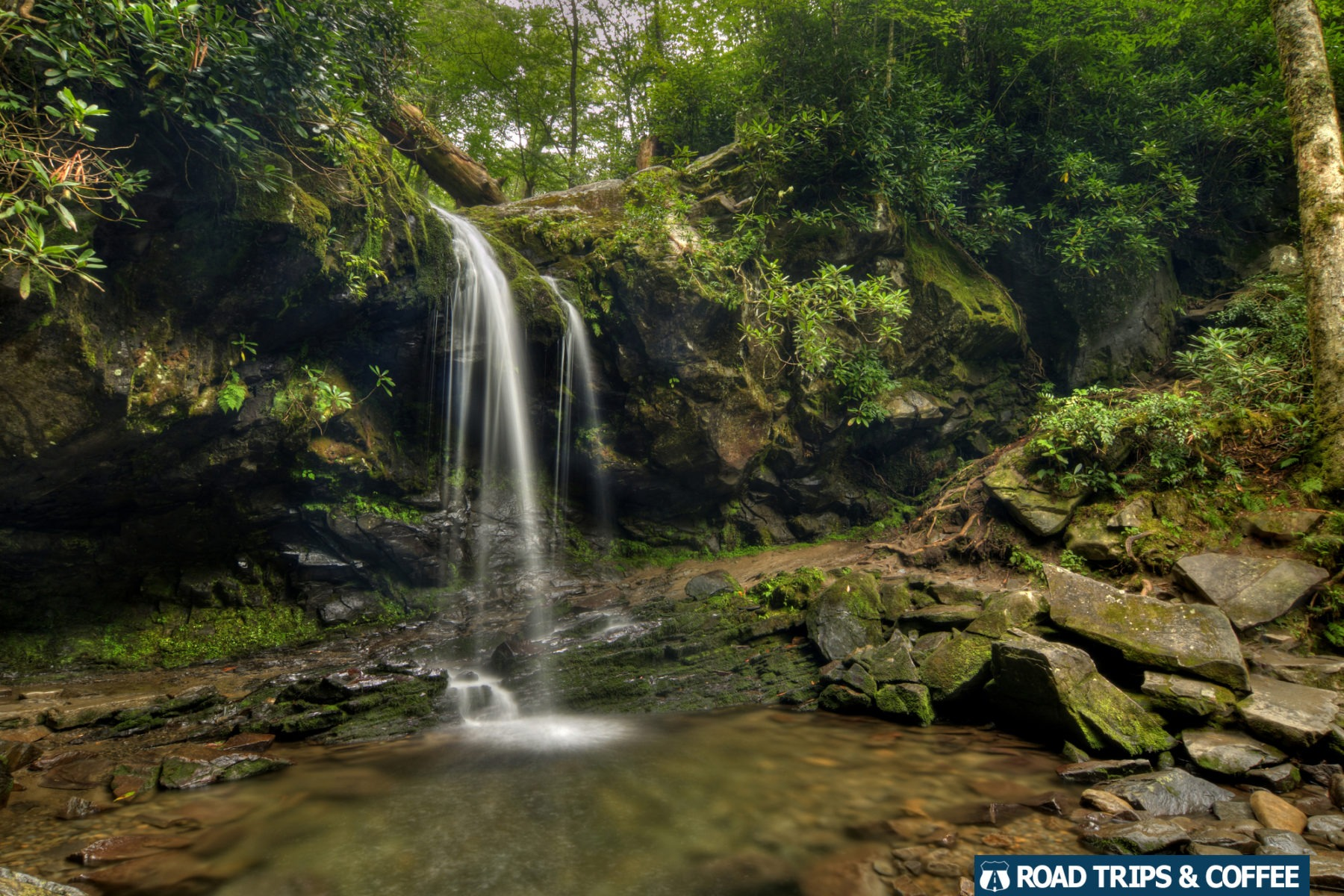 The small waterfall Grotto Falls in the Great Smoky Mountains National Park