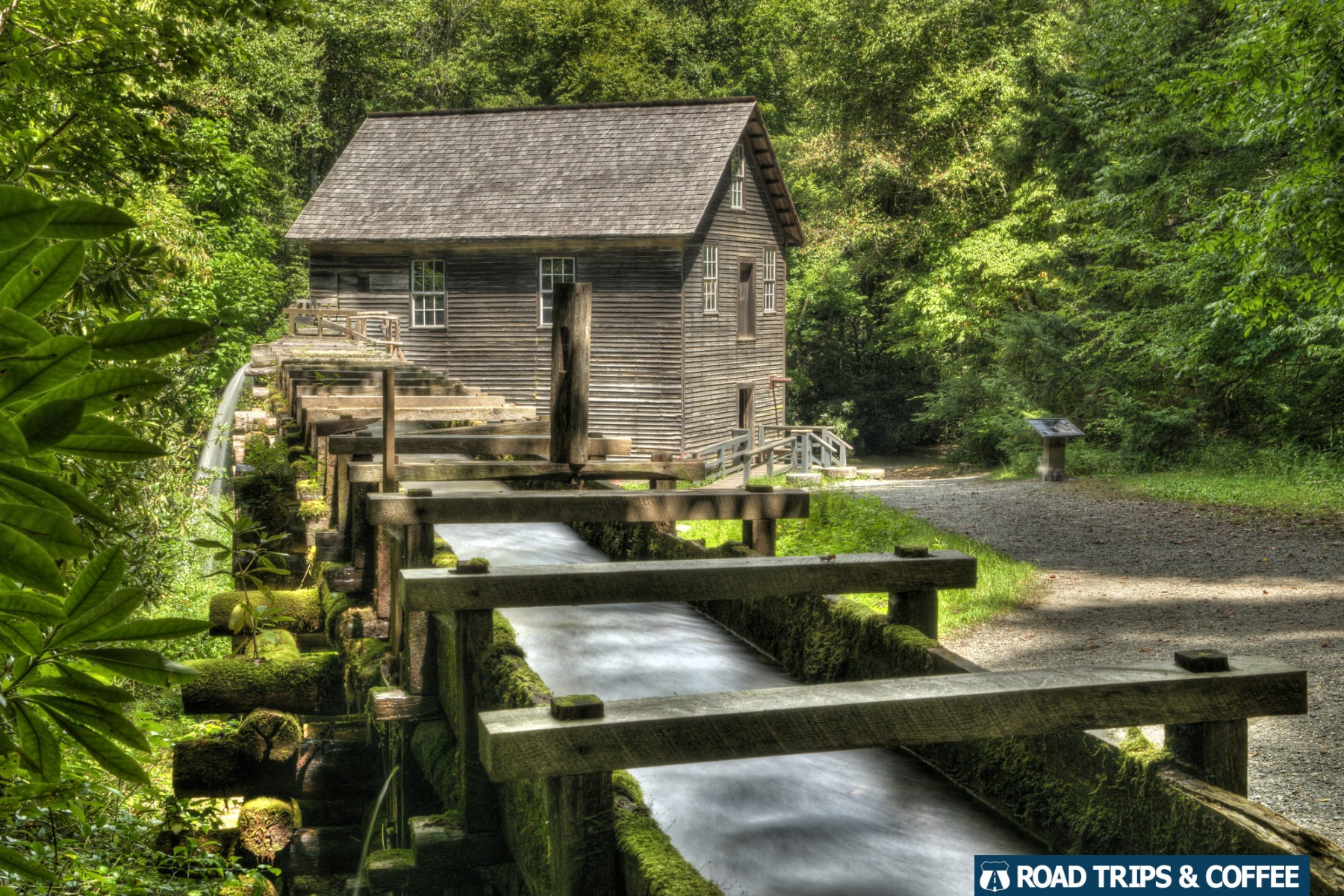 Water runs through the aqueduct to Mingus Mill in the Great Smoky Mountains National Park