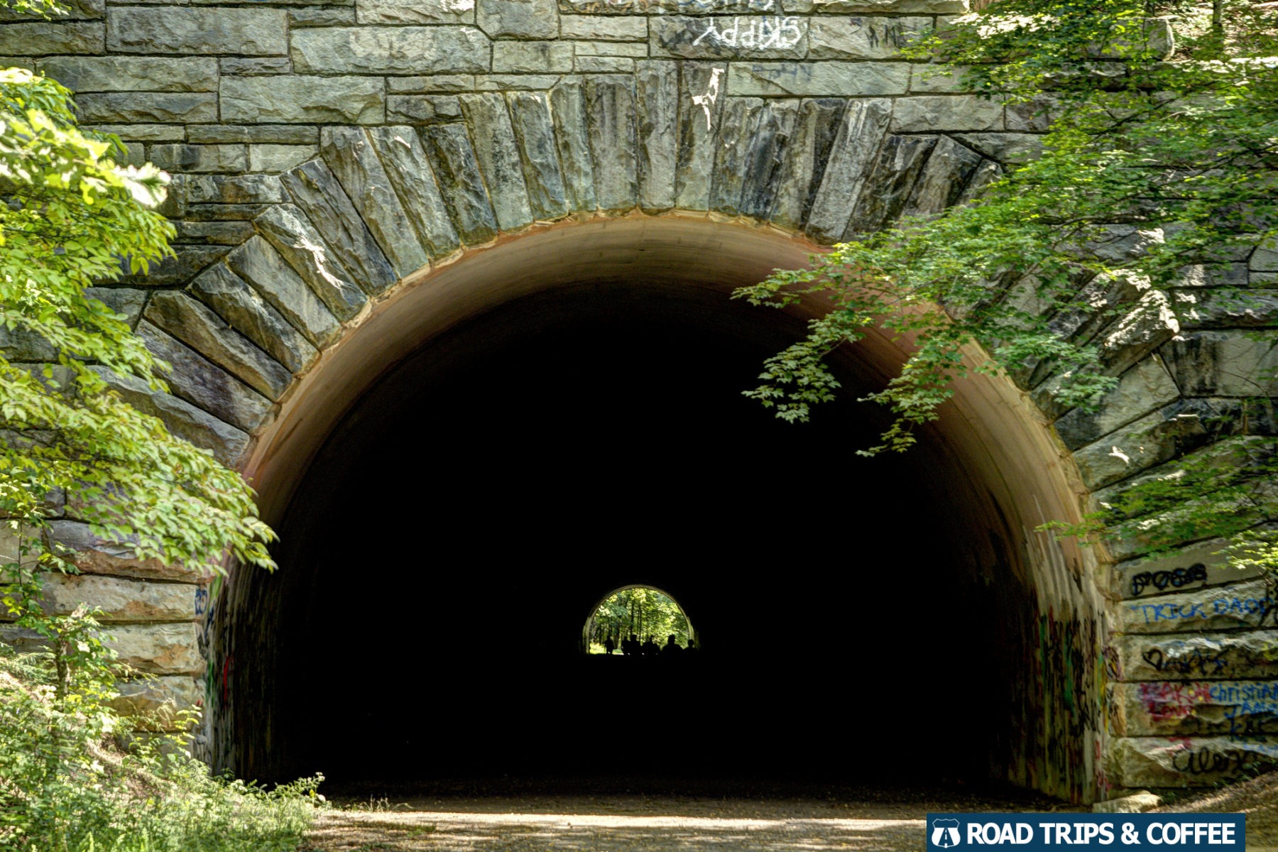 A dark tunnel passed through a mountain in the Great Smoky Mountains National Park