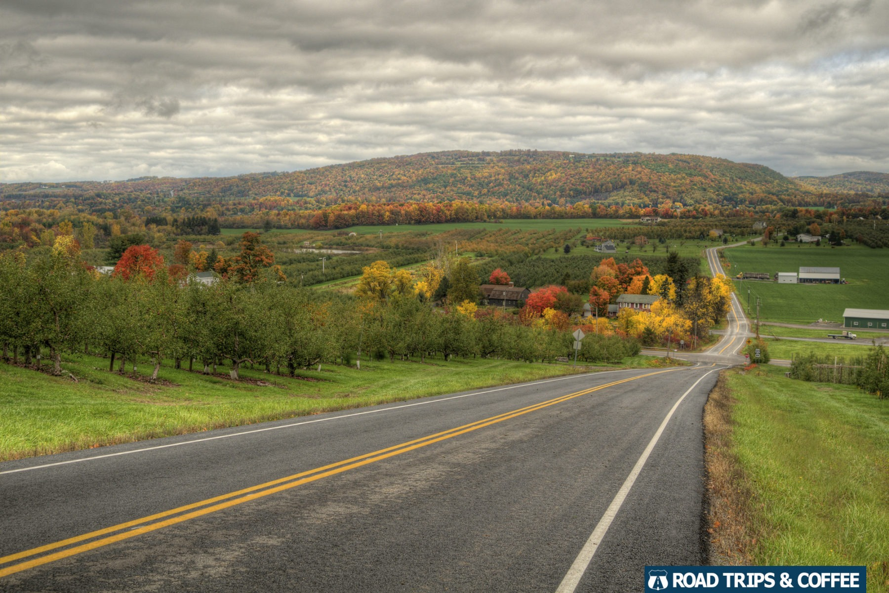 A long highway across New York during the peak of fall colors.