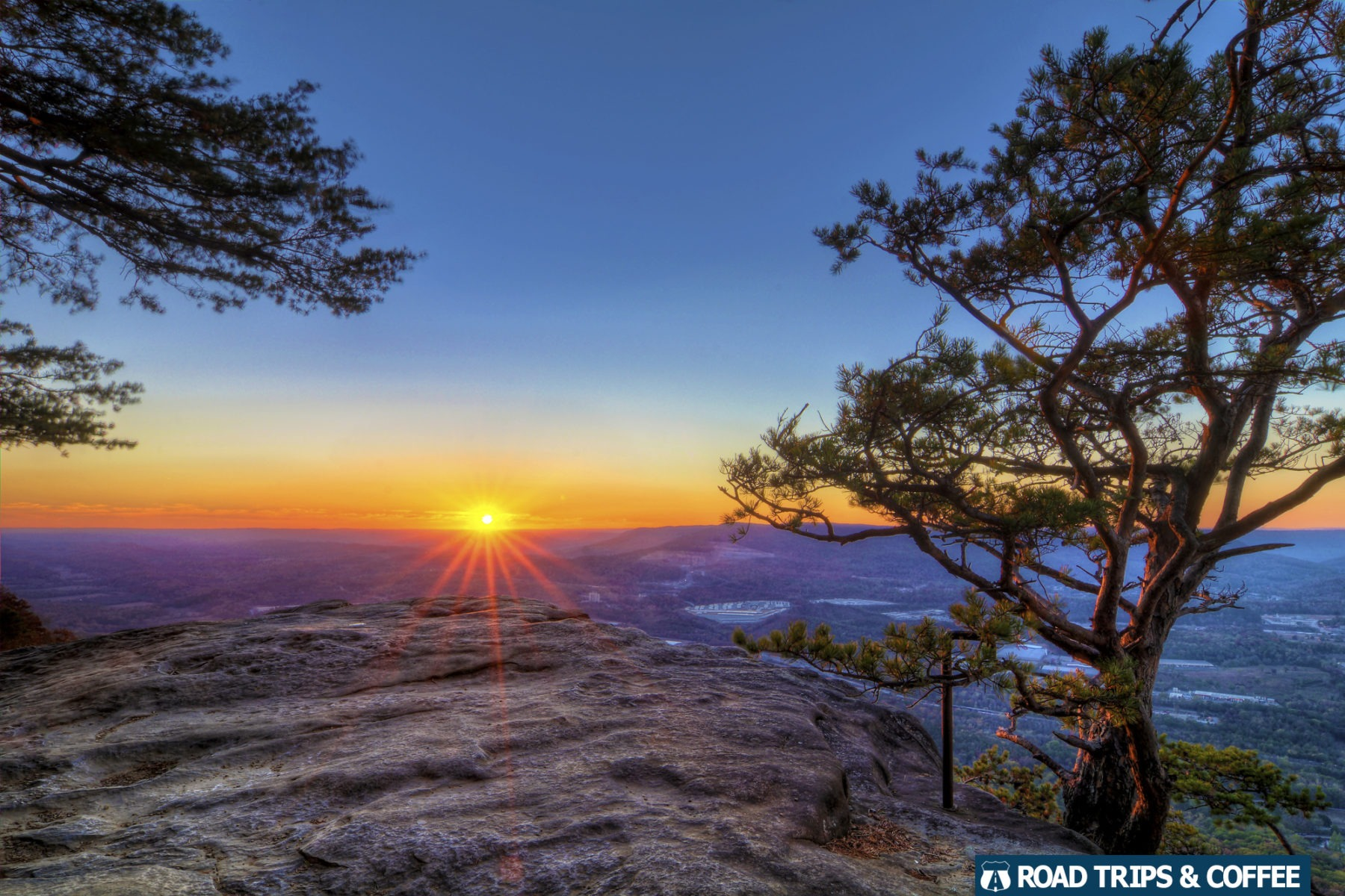A warm sunset on a rocky outcropping at Sunset Rock on Lookout Mountain Chattanooga, Tennessee