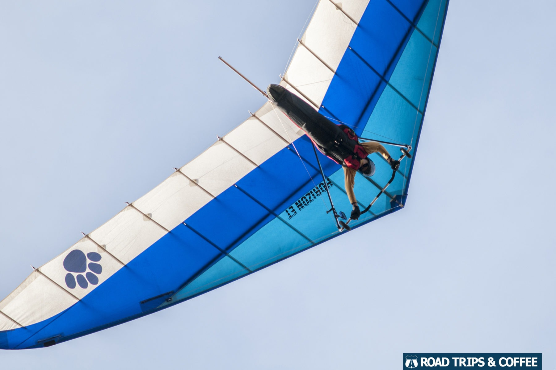 A hang glider soars overhead at Lookout Mountain, Georgia