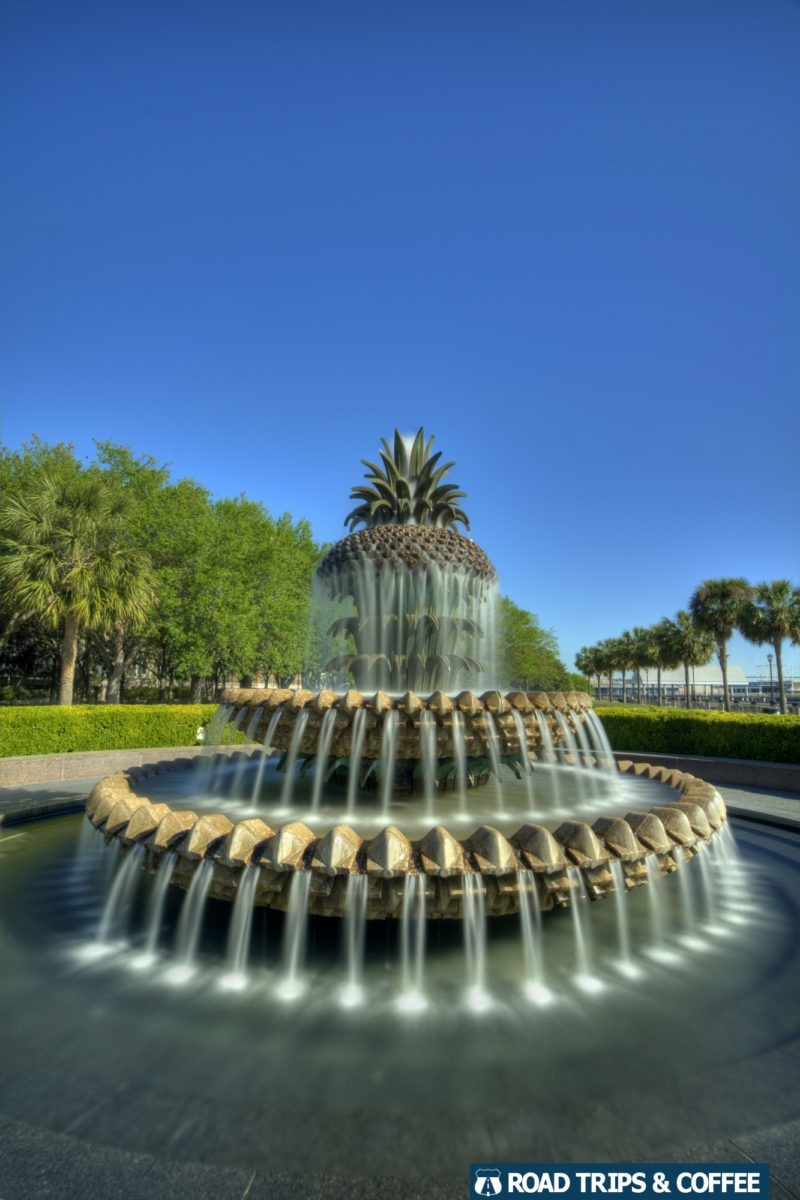 The Pineapple Water Fountain during day time in Waterfront Park in Charleston, South Carolina