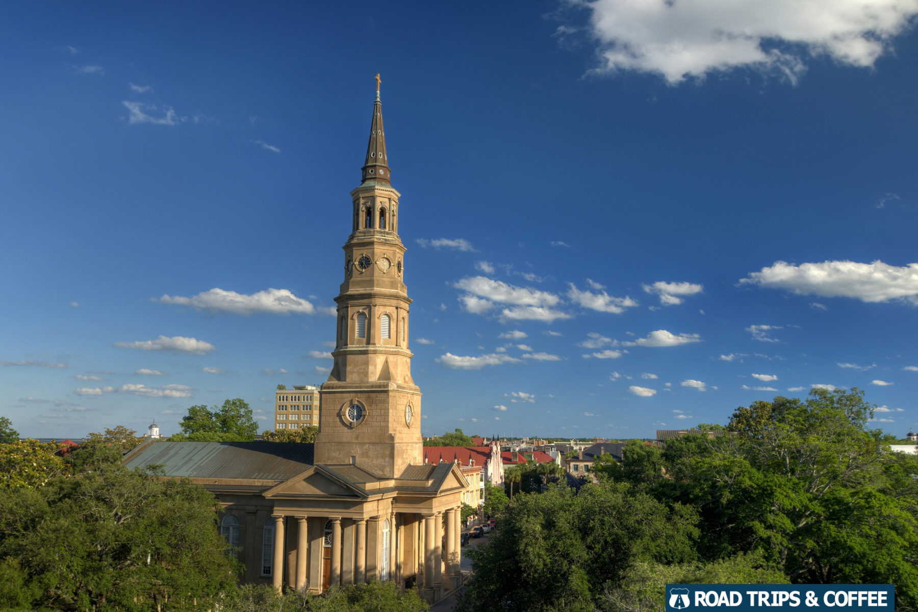 The towering beige steeple of Saint Phillips Episcopal Church in Charleston, South Carolina