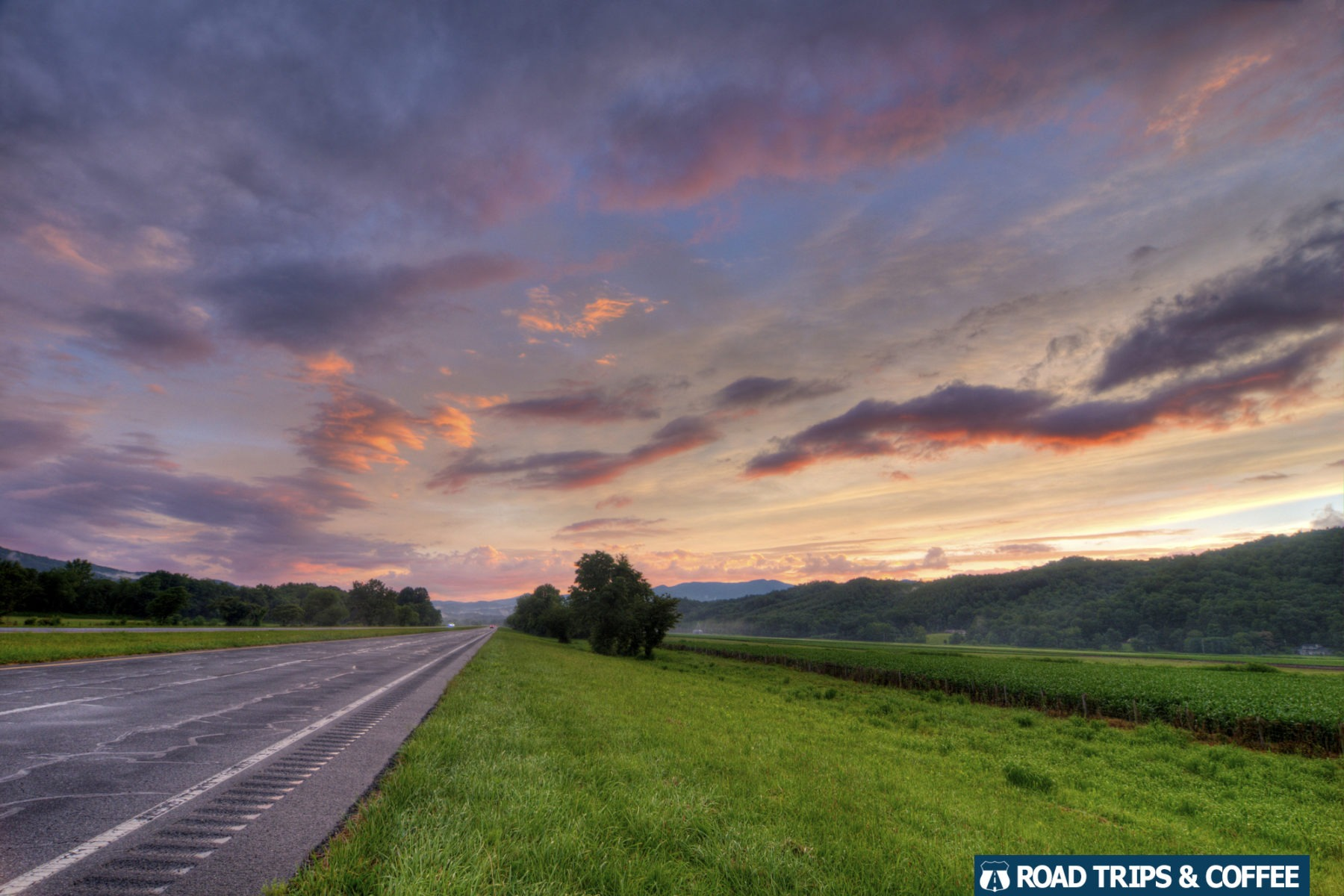 A long highway stretches into the distance with a gorgeous sunset across the sky in North Carolina.