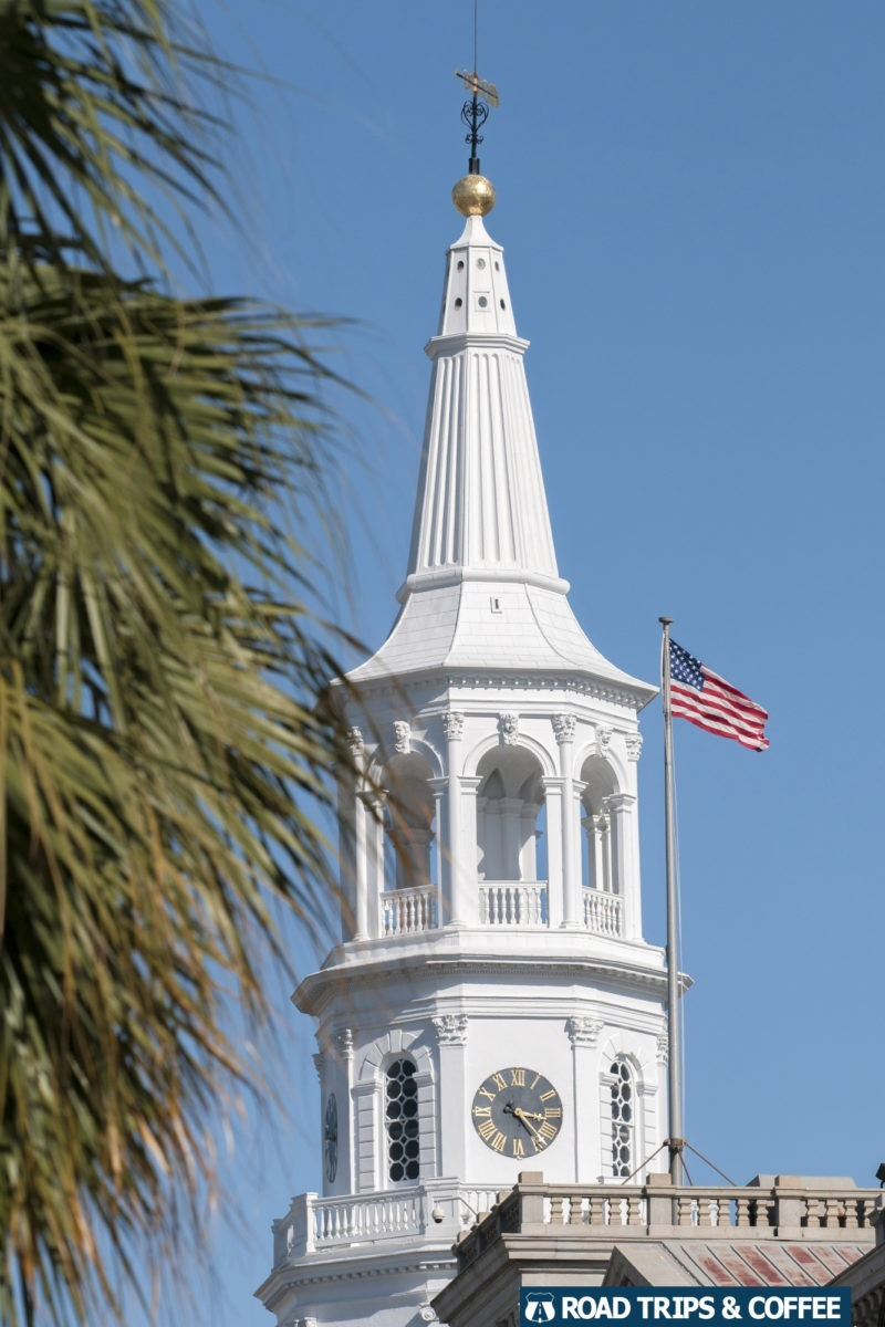 The tall white steeple of Saint Michaels Episcopal Church in Charleston, South Carolina