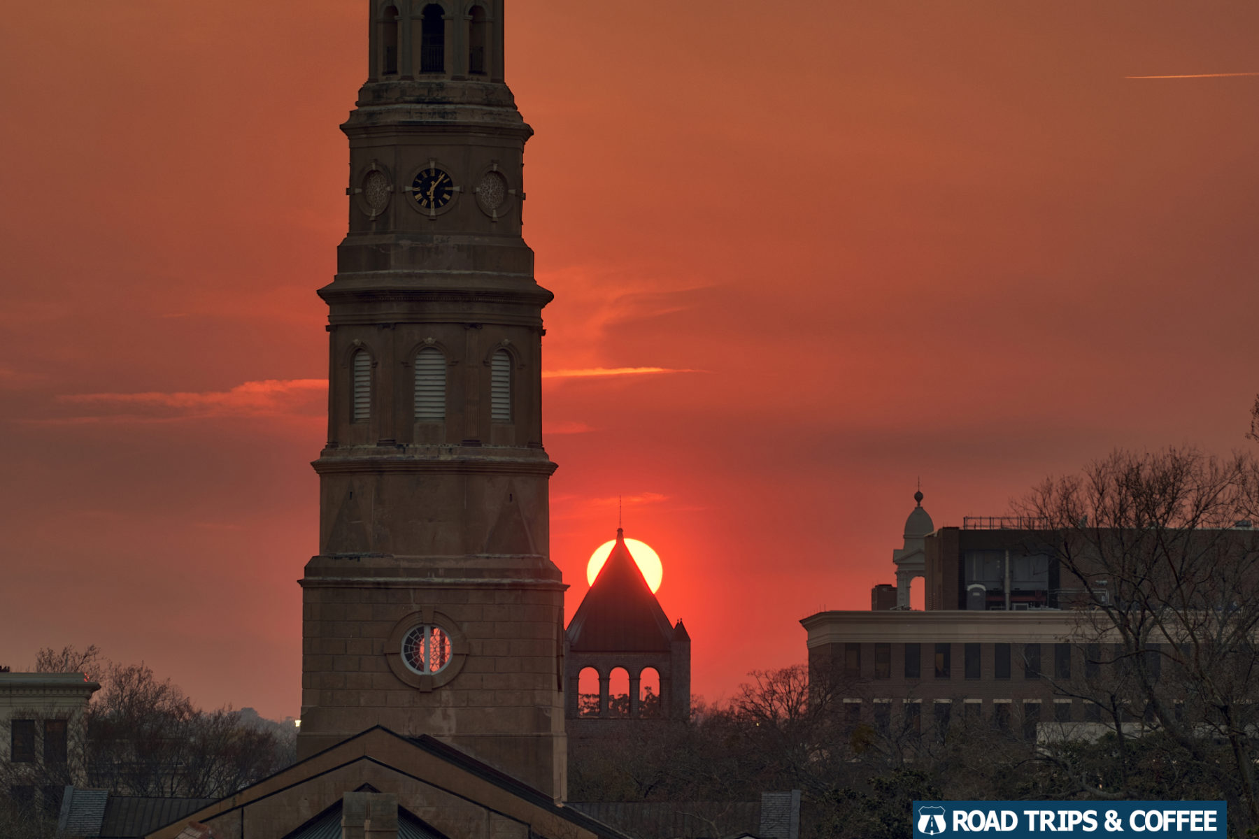 Sunset behind church steeples in Charleston, South Carolina