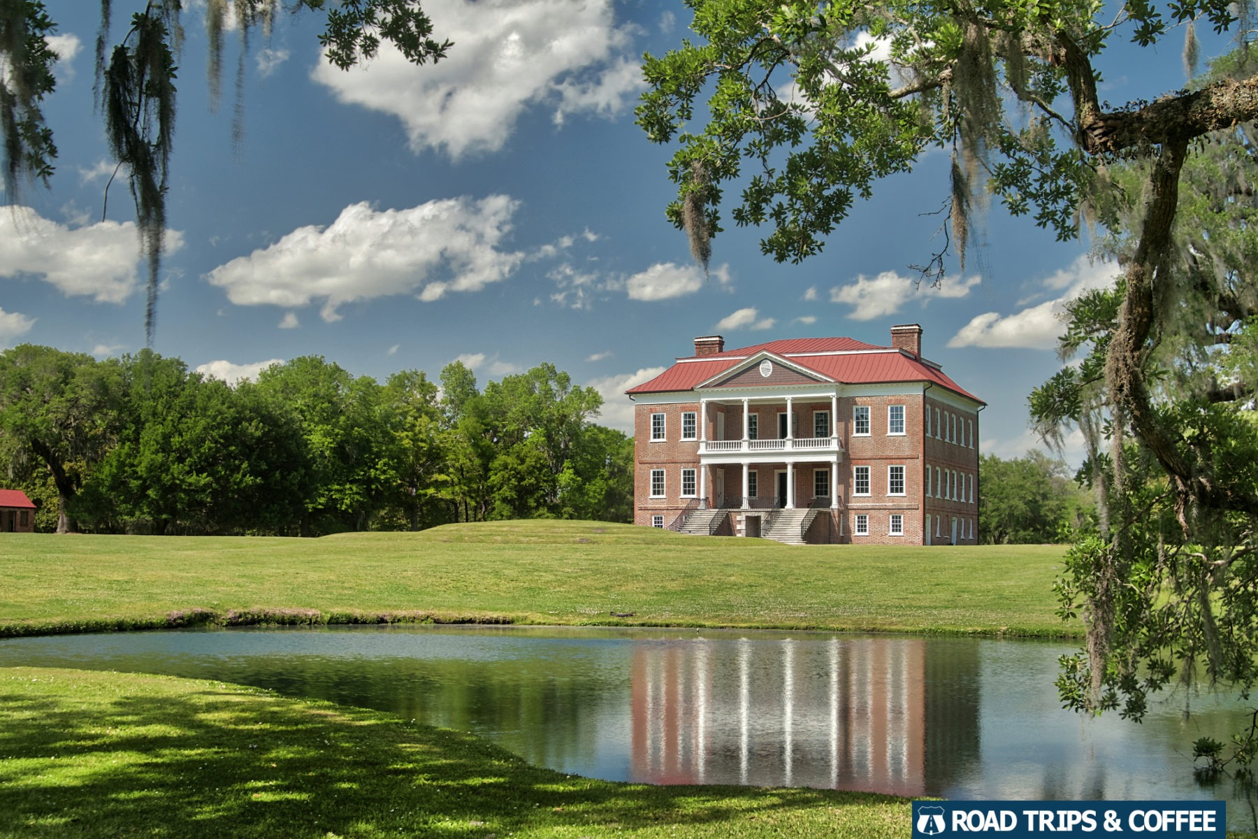 Reflection of Drayton Hall in a small pond in Charleston, South Carolina