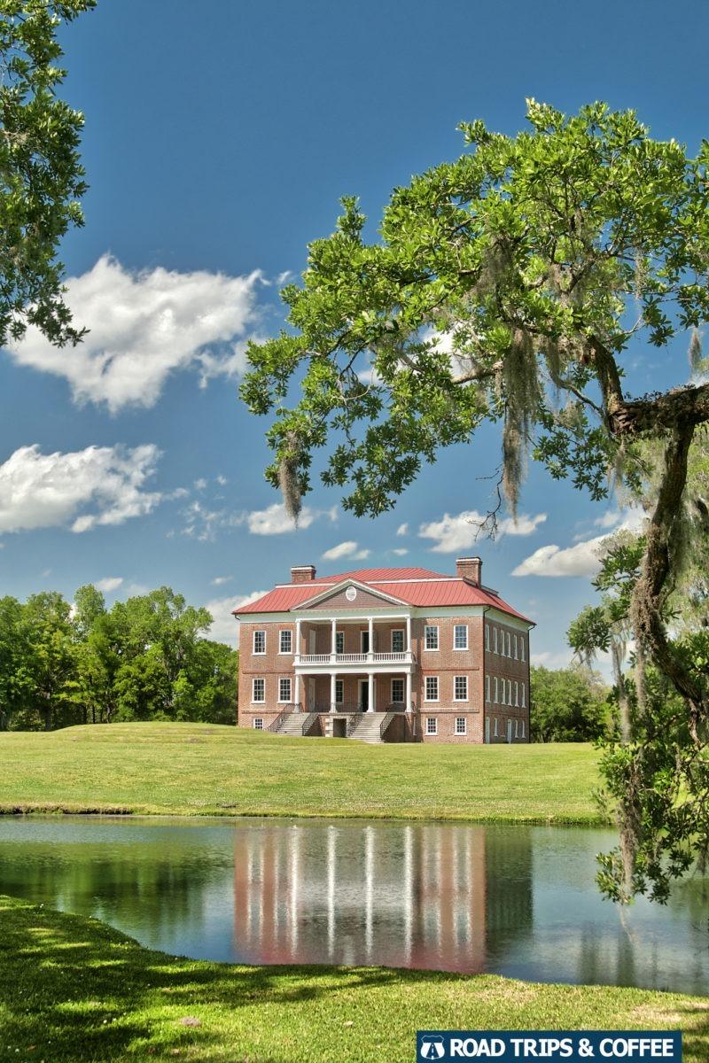 Reflection of Drayton Hall in a small pond in Charleston, South Carolina