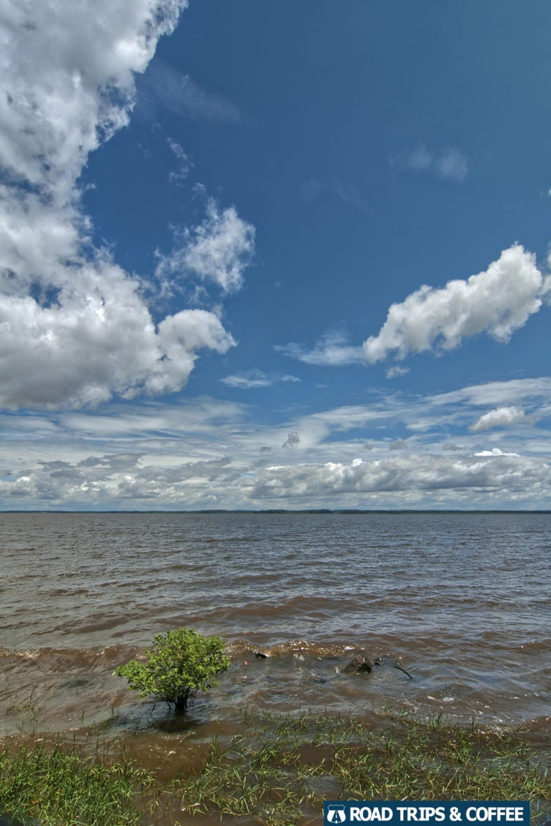 A small wave crosses the massive Ross Barnett Reservoir just off the Natchez Trace Parkway in Jackson, Mississippi