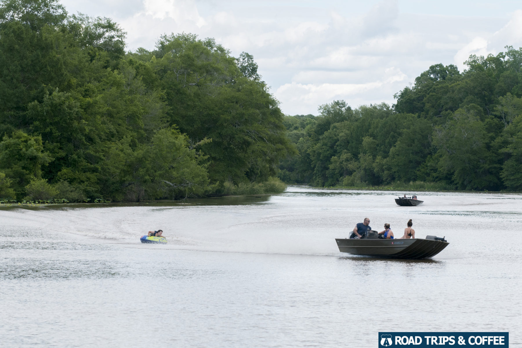 Boaters enjoy a day of river rafting on the Pearl River near the River Bend Overlook on the Natchez Trace Parkway in Mississippi