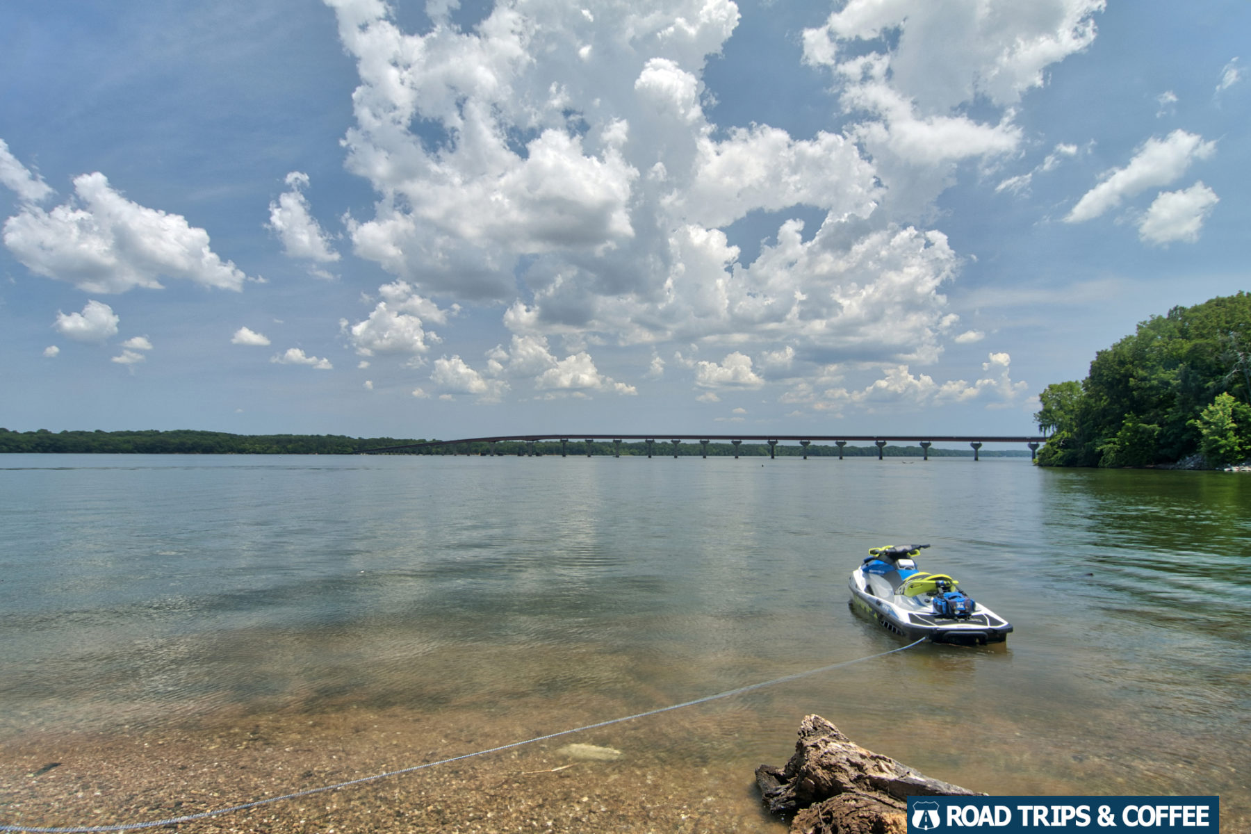 A jet ski anchored to the shore of the Tennessee River at Colbert Ferry on the Natchez Trace Parkway in Alabama