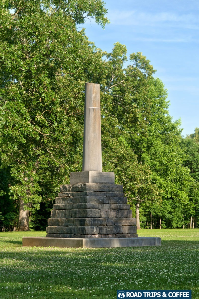 The partially-built stone Meriwether Lewis Memorial on the Natchez Trace Parkway in Tennessee