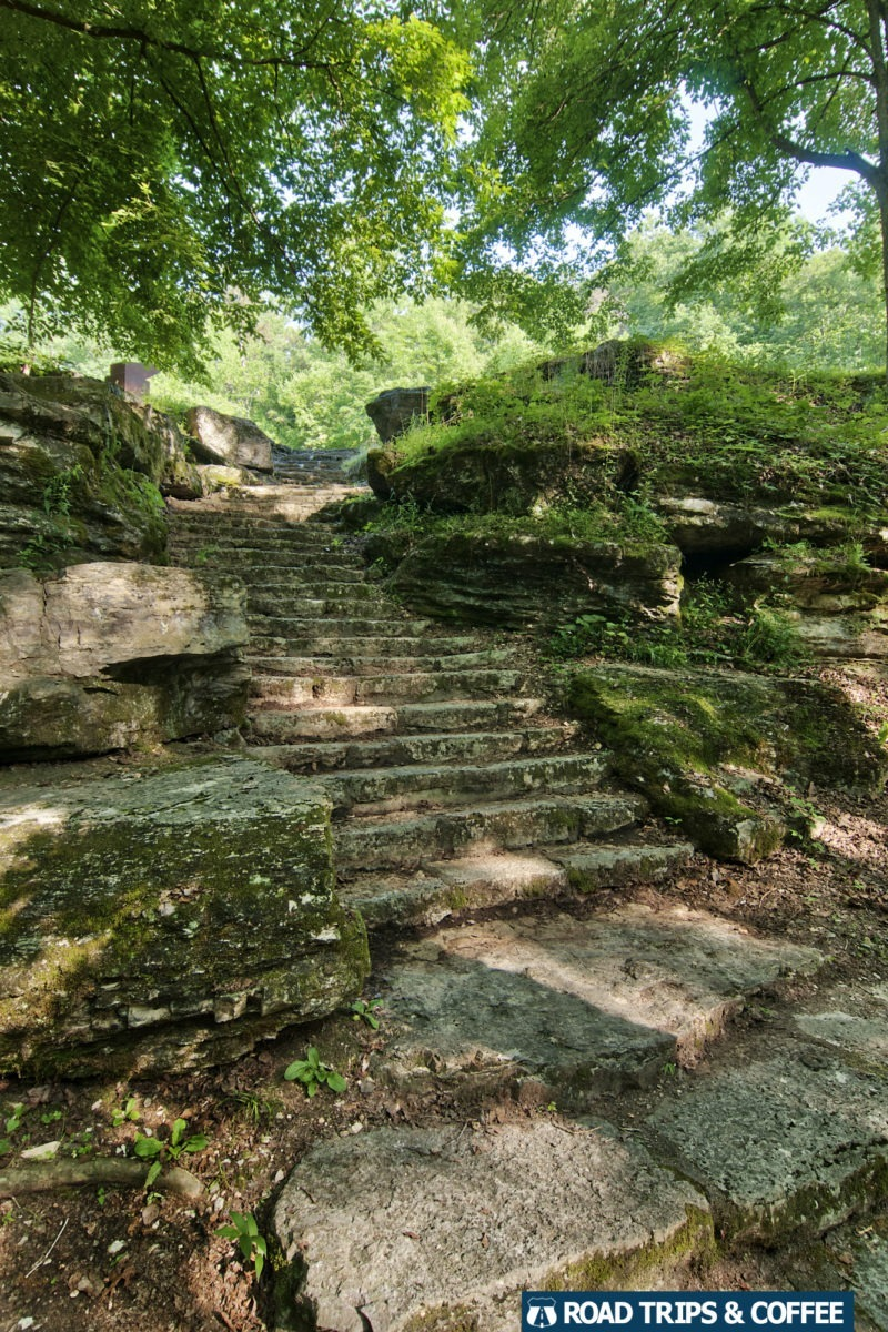 Stone steps lead down to the river at Jack's Branch on the Nathchez Trace Parkway in Tennessee